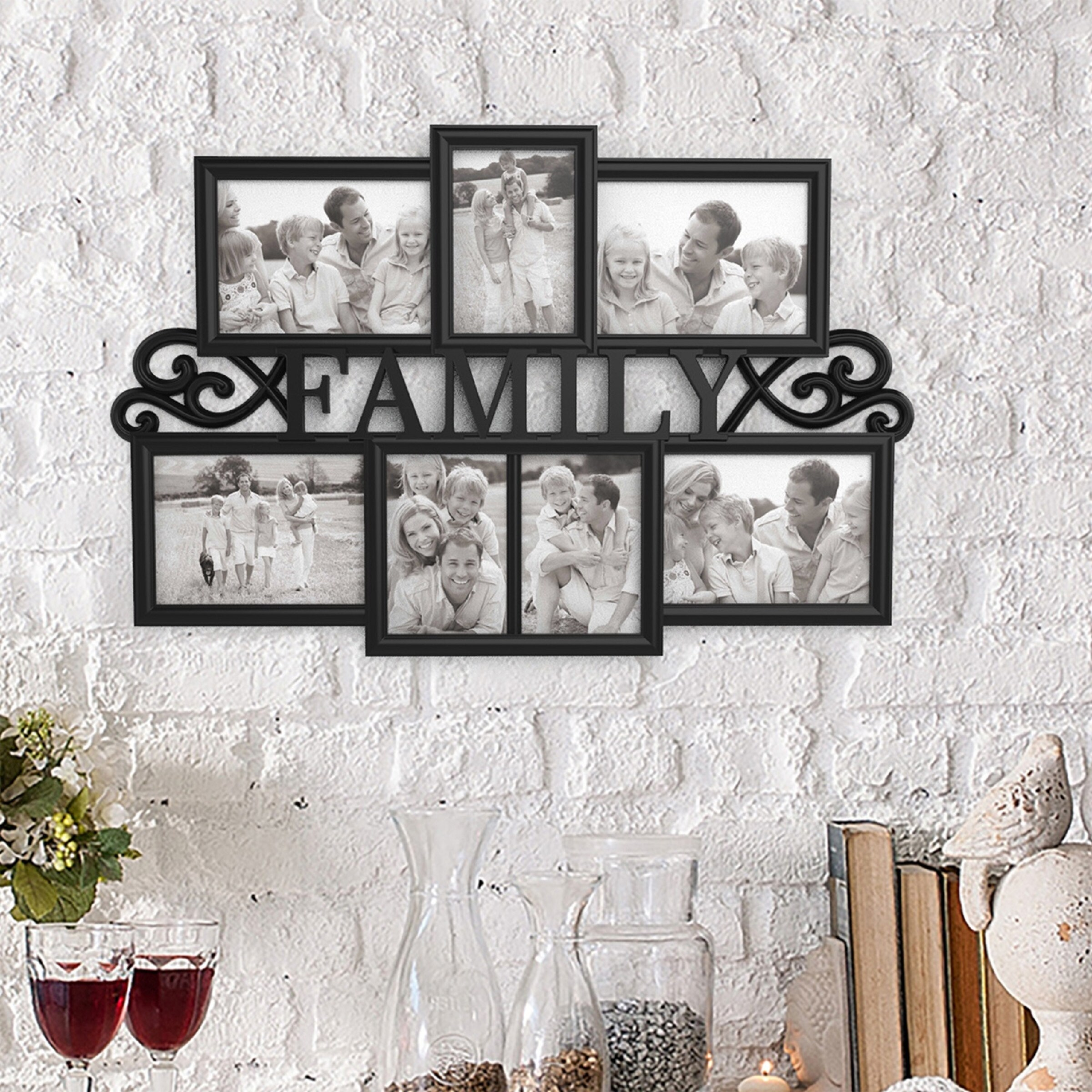 Shop Family Collage Picture Frame with 7 Openings for Three 4x6 and ...