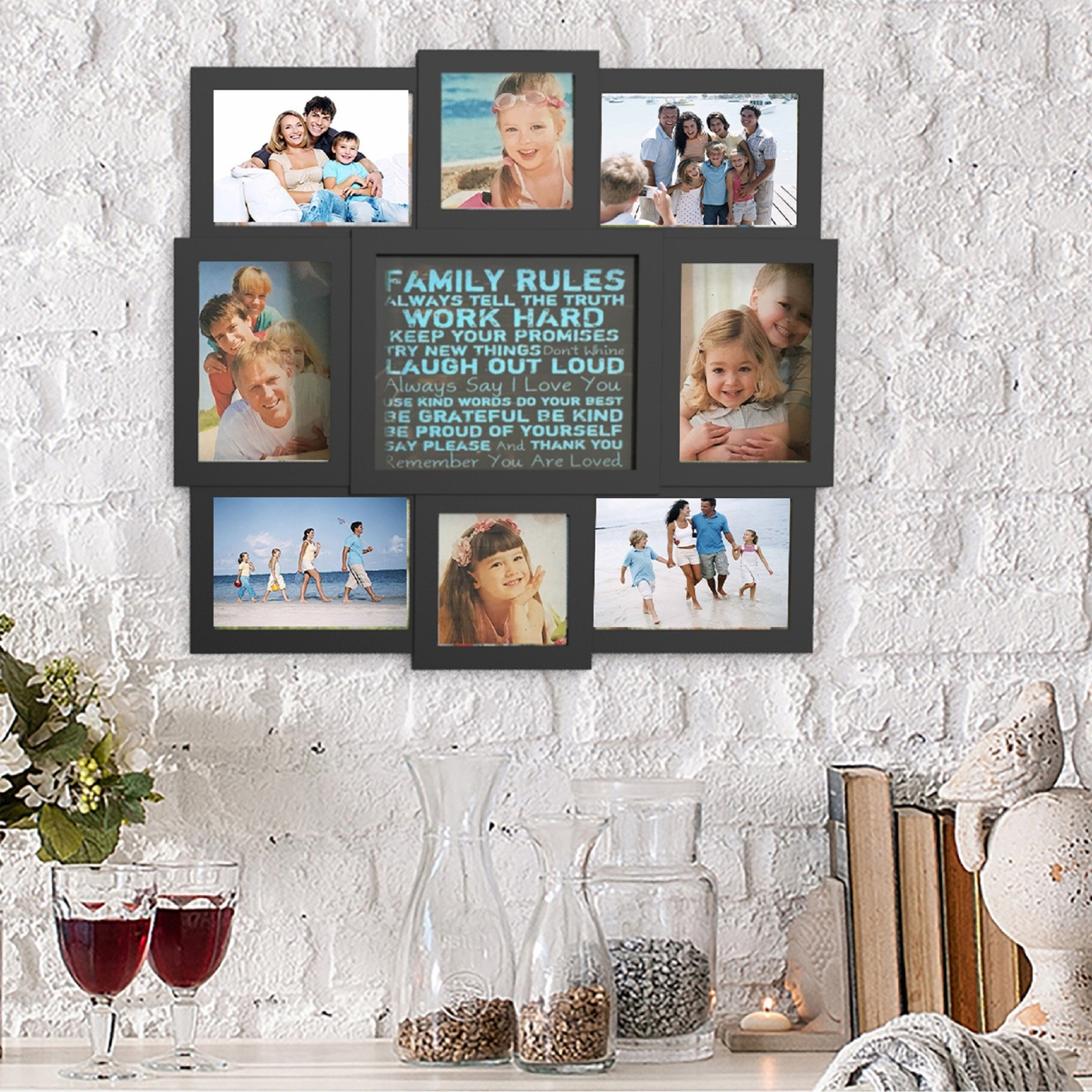 Shop Family Rules Collage Picture Frame with 8 Openings for Six 4x6 ...
