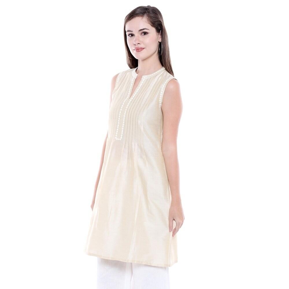 b1eee456d76 Shop In-Sattva Women s Indian Summer Collection Pintucked Sleeveless Kurta  Tunic - Ships To Canada - - 21448425