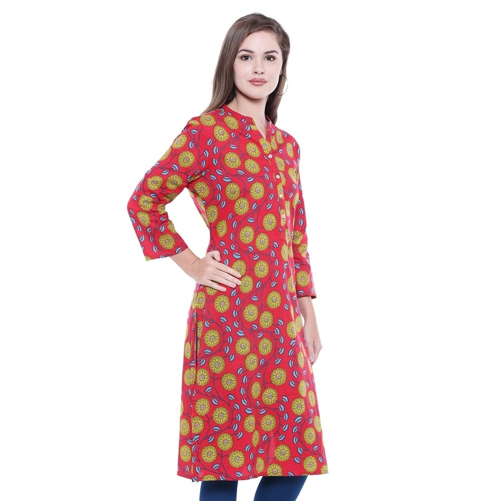 091655d51ea In-Sattva Women s Indian Summer Collection Classic Printed Kurta Tunic