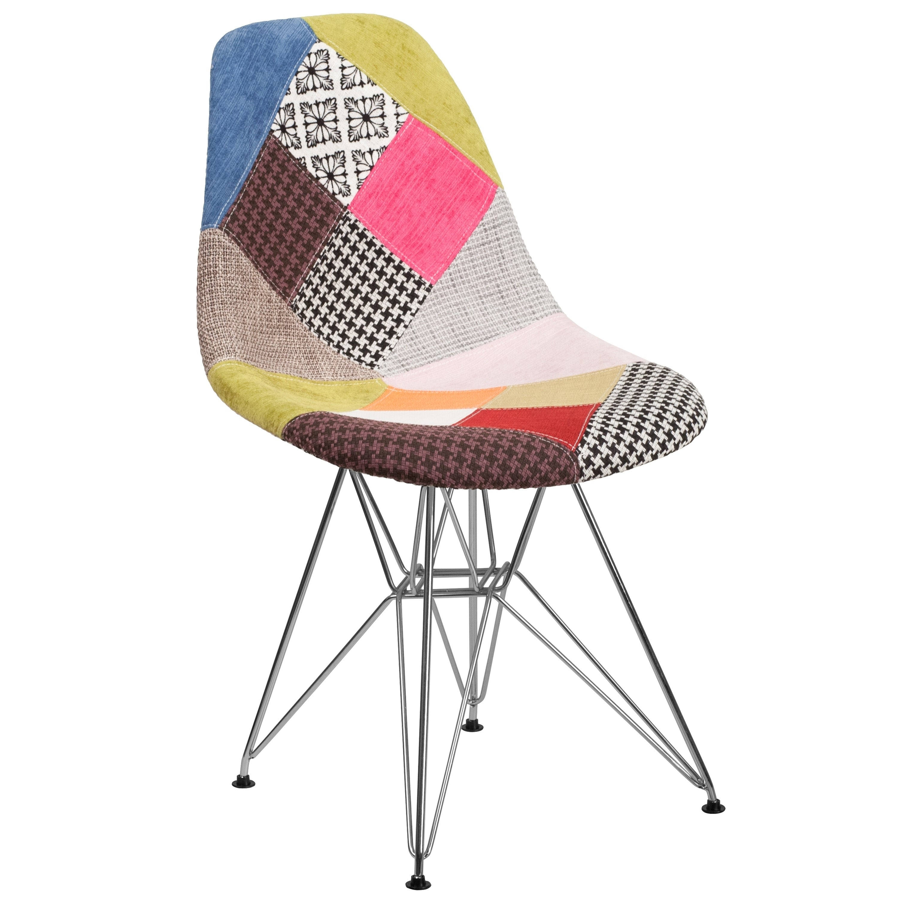 Shop modern mid century multi color patchwork upholstered chair with artistic chrome legs free shipping today overstock com 21450148