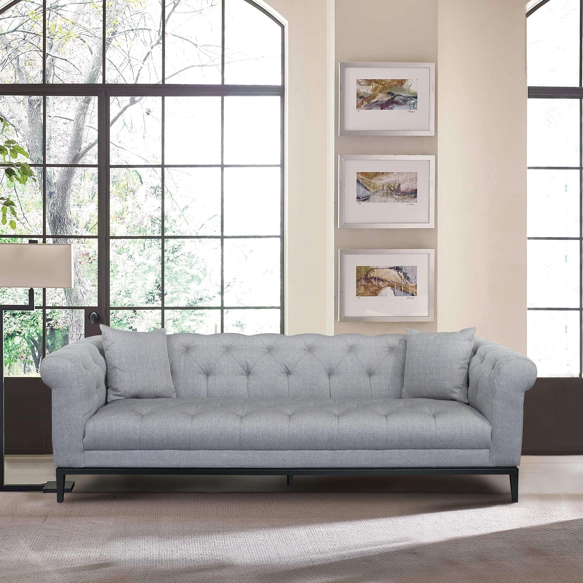 Armen living glamour contemporary sofa with black iron finish base