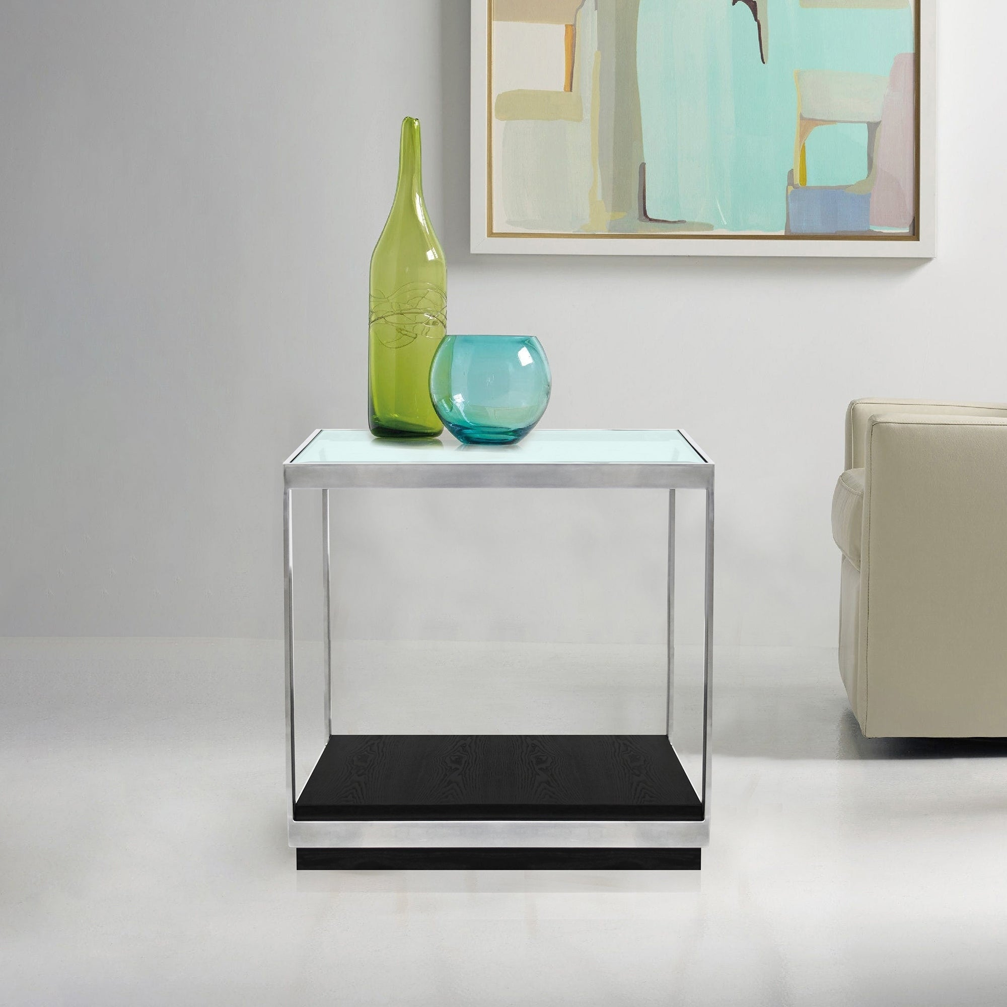 Shop Armen Living Manchester Contemporary End Table With Polished Steel Bed Double Stainless And Glass Top On Sale Free Shipping Today 21451539