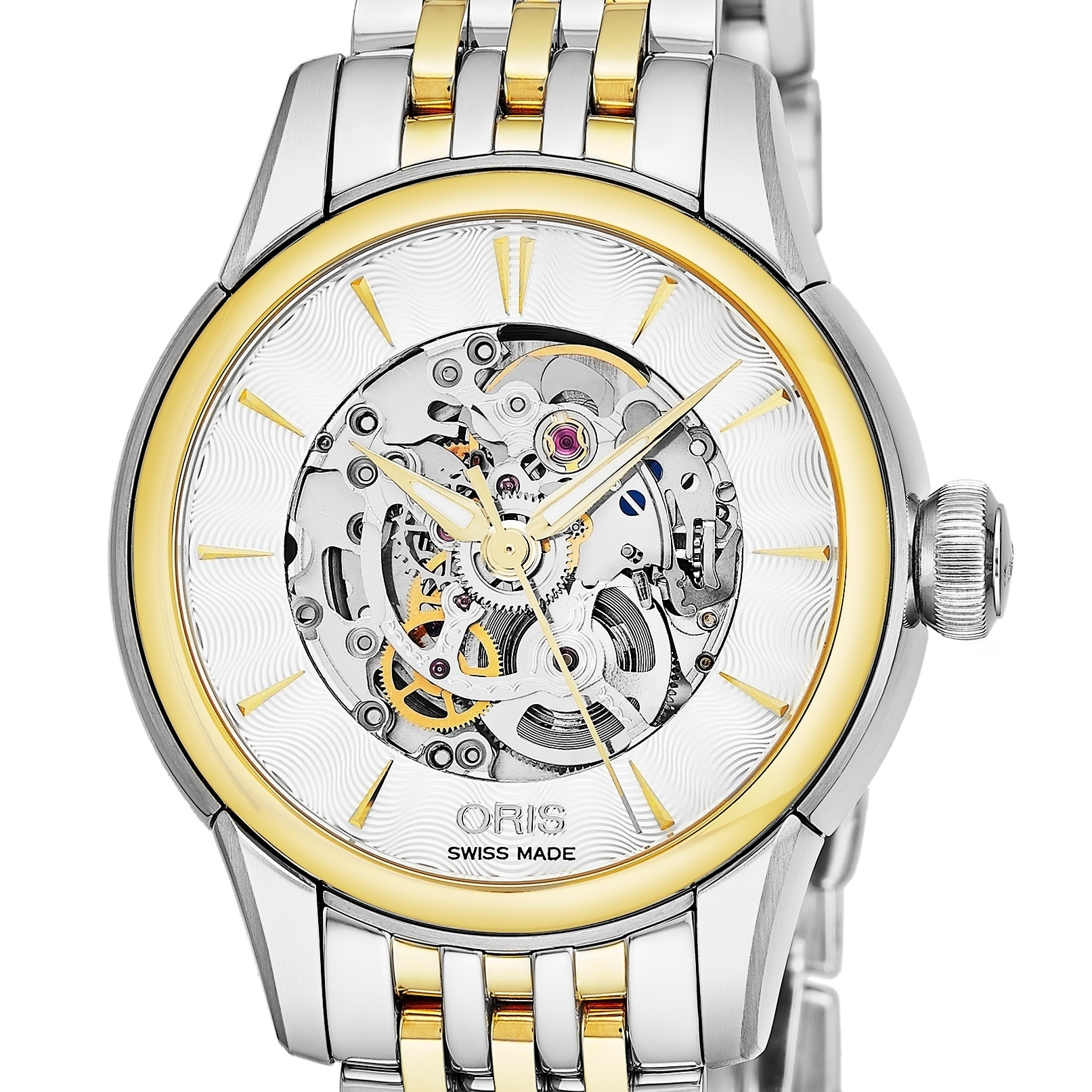 1dc996ca7 Shop Oris Women's 01 560 7687 4351-07 8 14 78 'Artelier' Silver Skeleton  Dial Two Tone Stainless Steel Swiss Automatic Watch - Free Shipping Today  ...