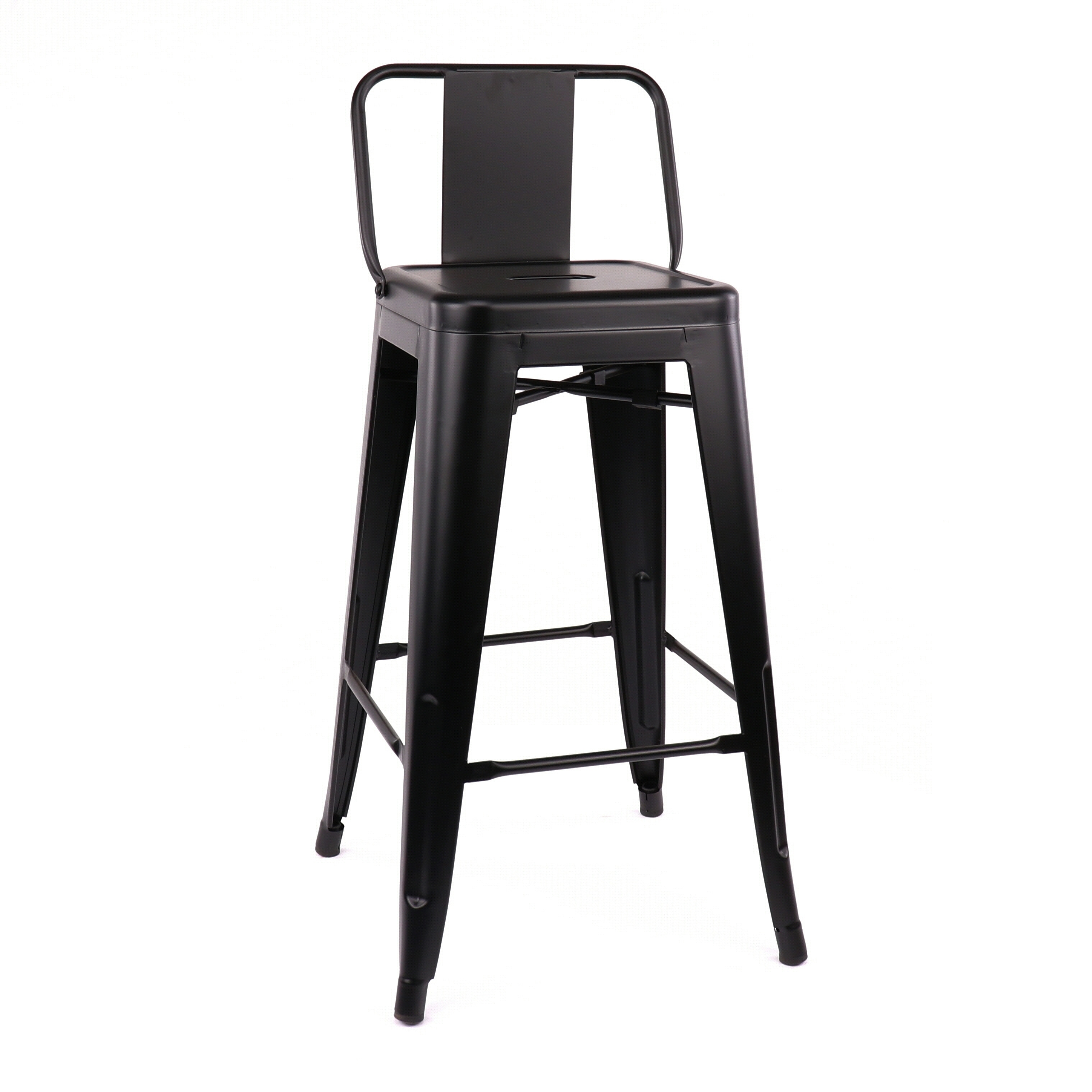 Shop amalfi matte black low back steel counter stool 26 inch set of 4 free shipping today overstock com 21453171