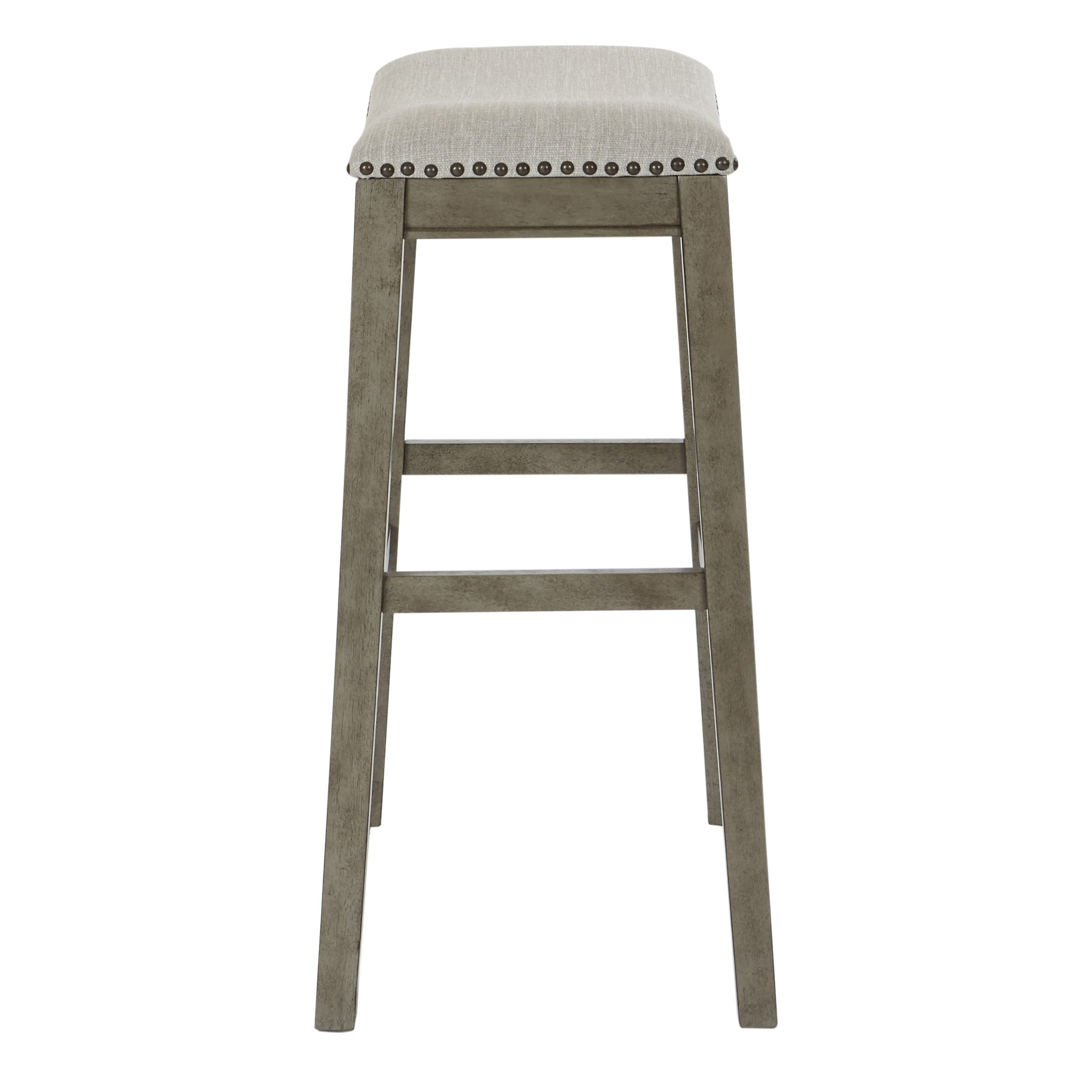 Osp Home Furnishings Metro 28 Inch Bar Height Saddle Stools In Fabric Seat And Antique Base 2 Pack On Free Shipping Today