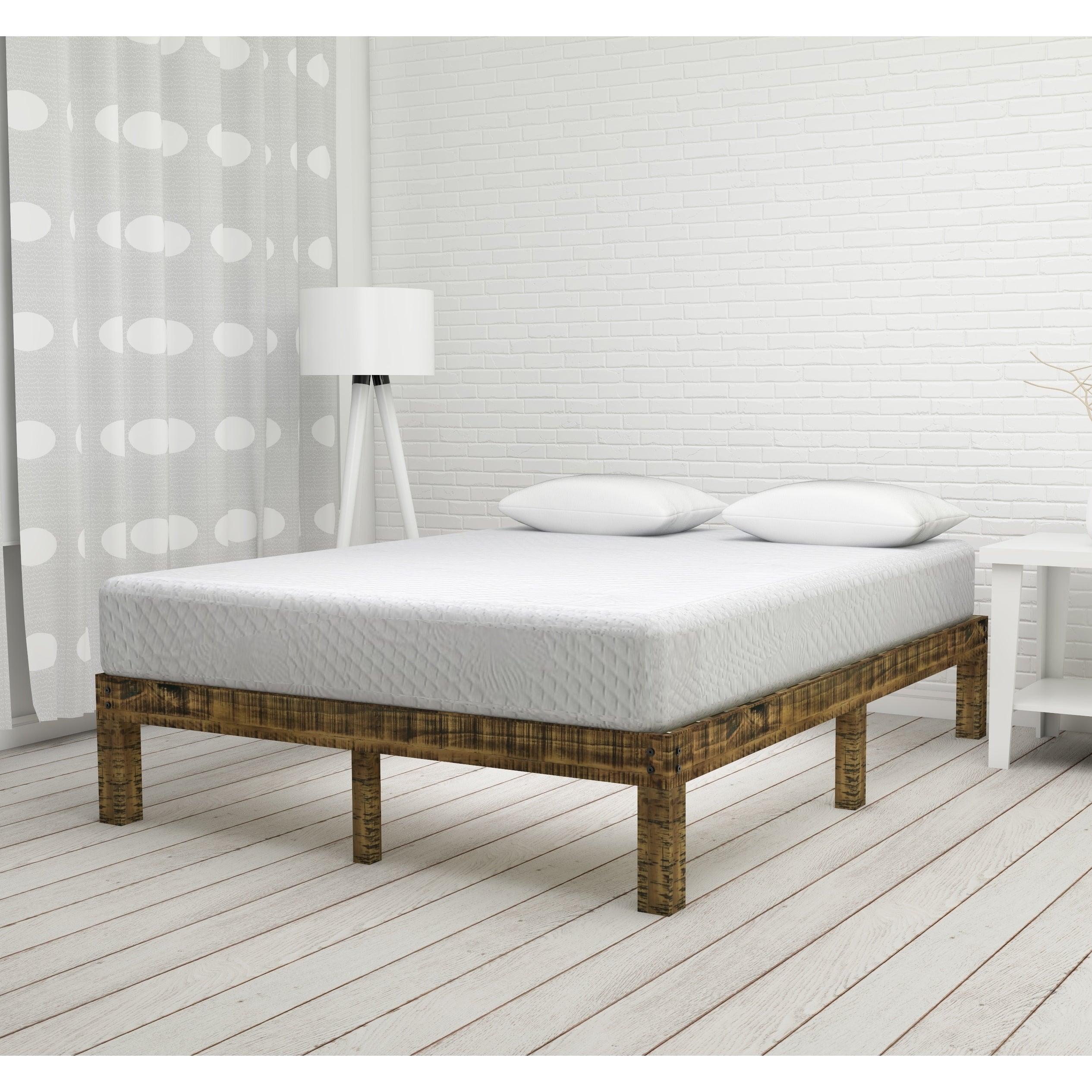 Shop Sleeplanner 14 Inch Solid Wood Platform Bed Natural Finish