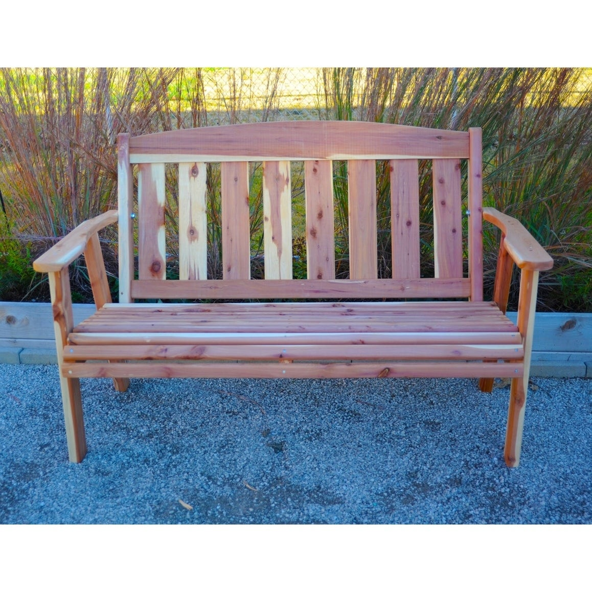 Offex 4 Hand Crafted Natural Solid Cedar Outdoor Bench Brown Free Shipping Today 21466251