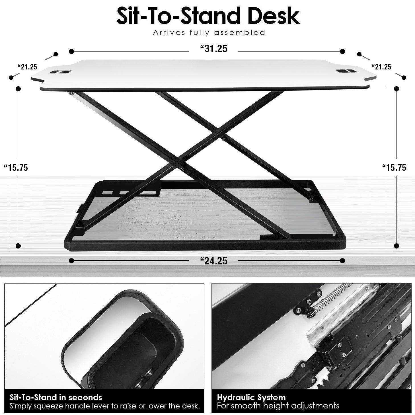 Adjustable Work Station-White, Small - White