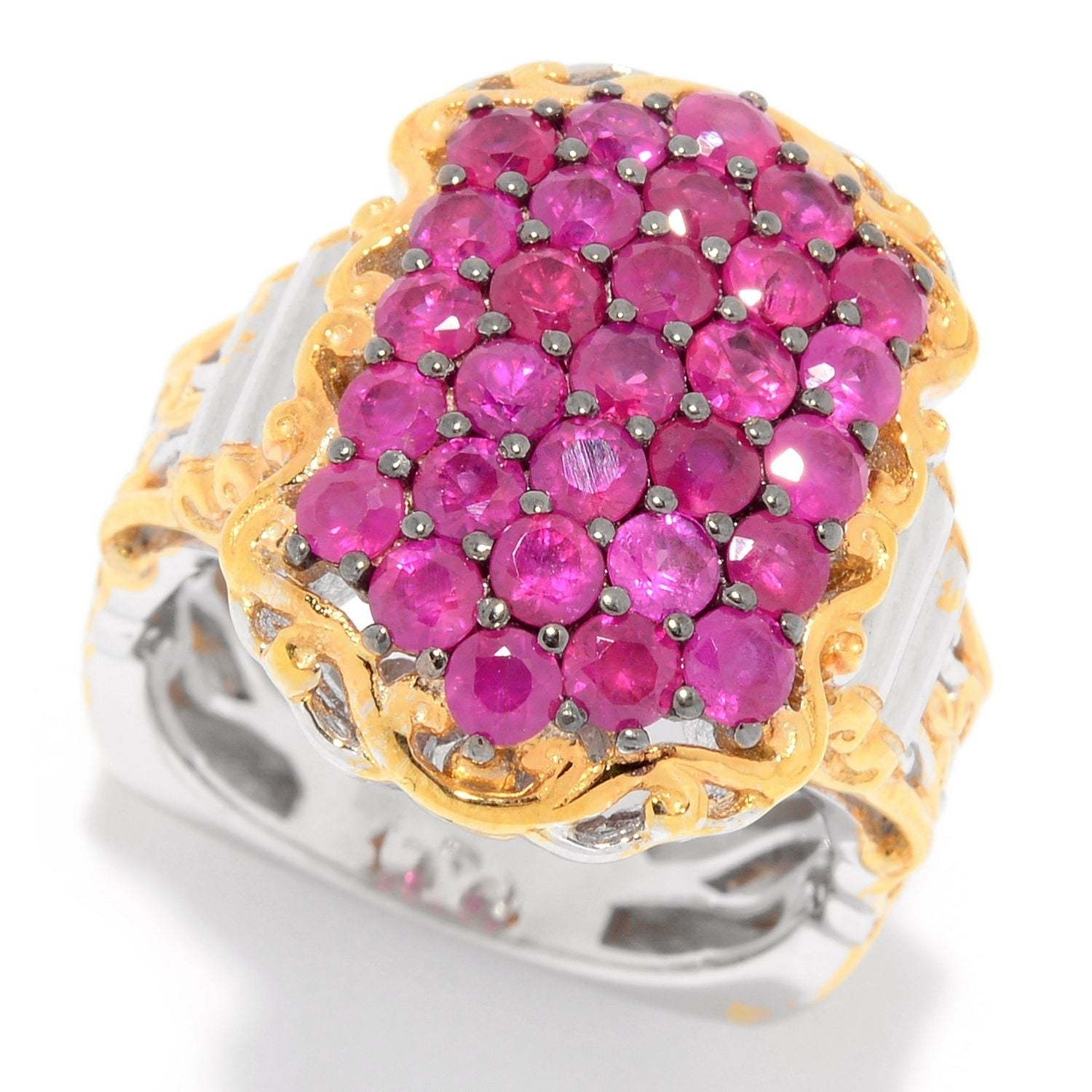 Michael Valitutti Palladium Silver Ruby North-South Cluster Ring ...