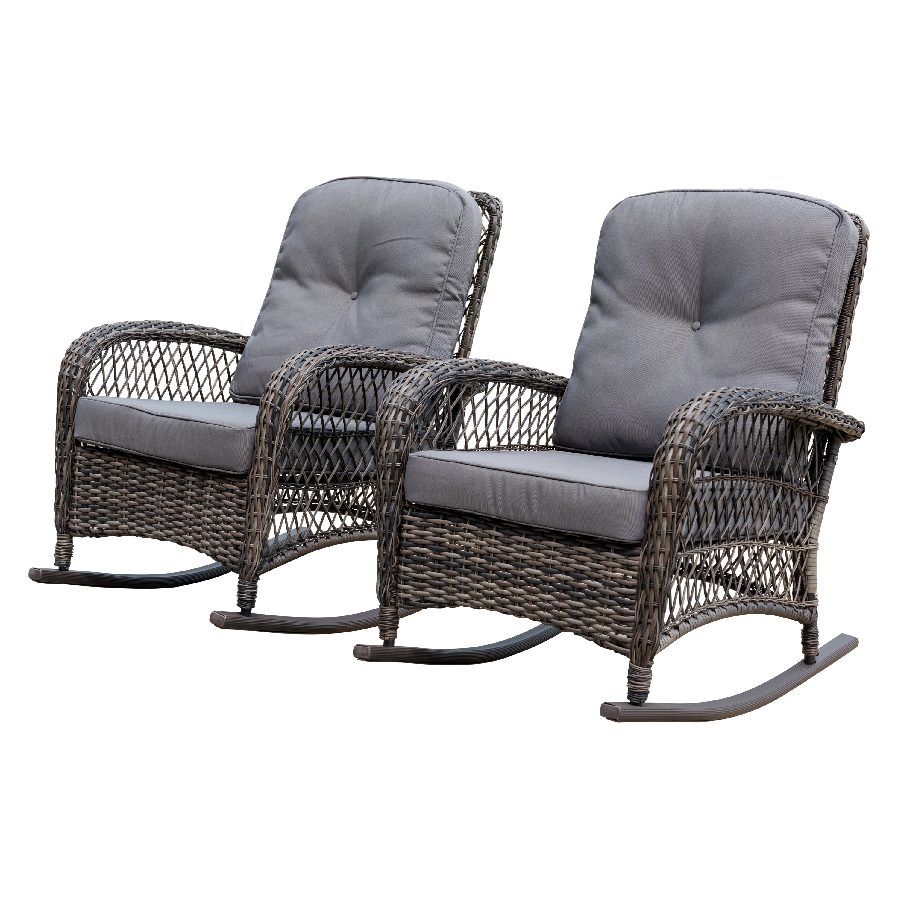 Shop Corvus Salerno Outdoor Wicker Rocking Chair With Cushions   Free  Shipping Today   Overstock.com   21481356