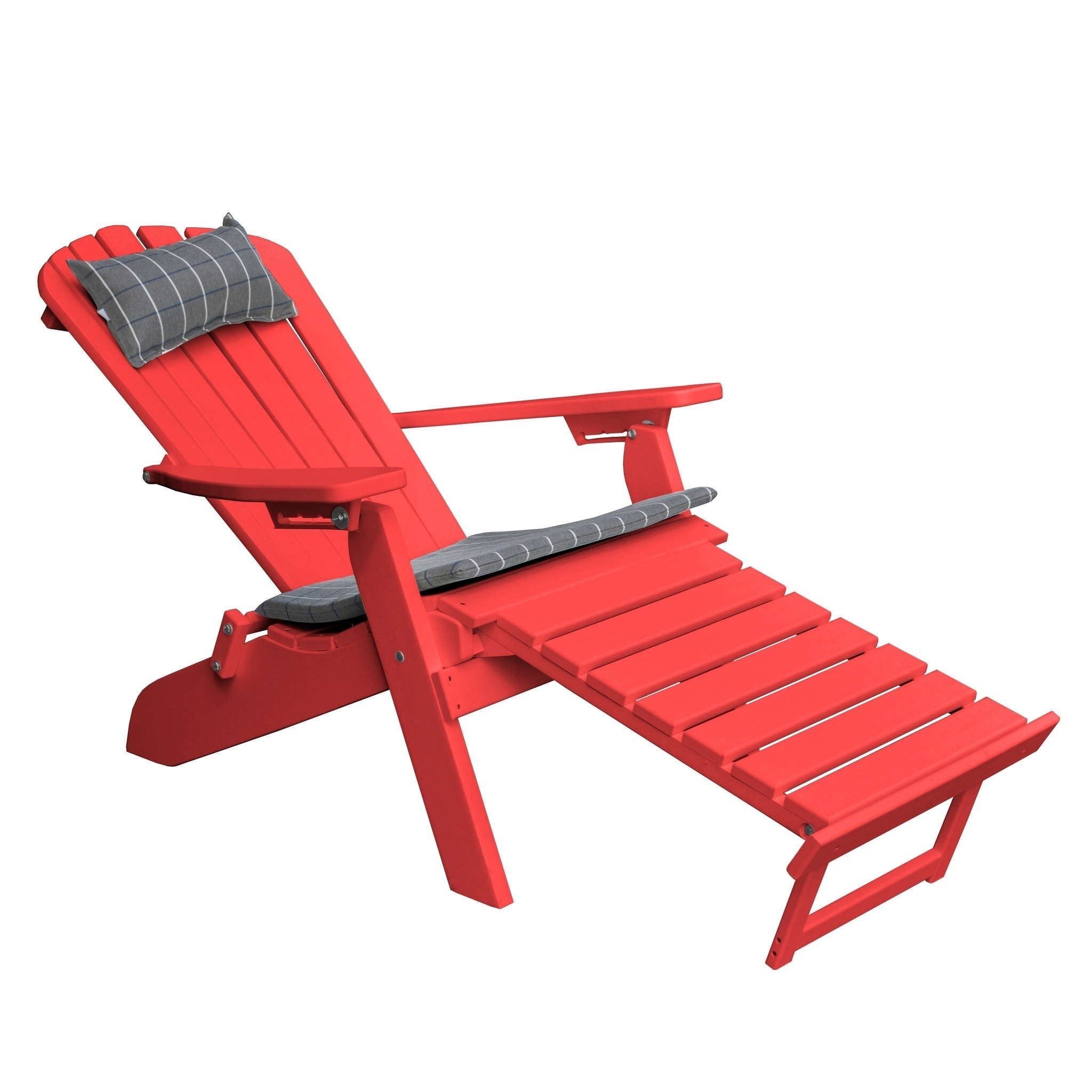 Folding Reclining Adirondack Chair With Pullout Ottoman Recycled Plastic