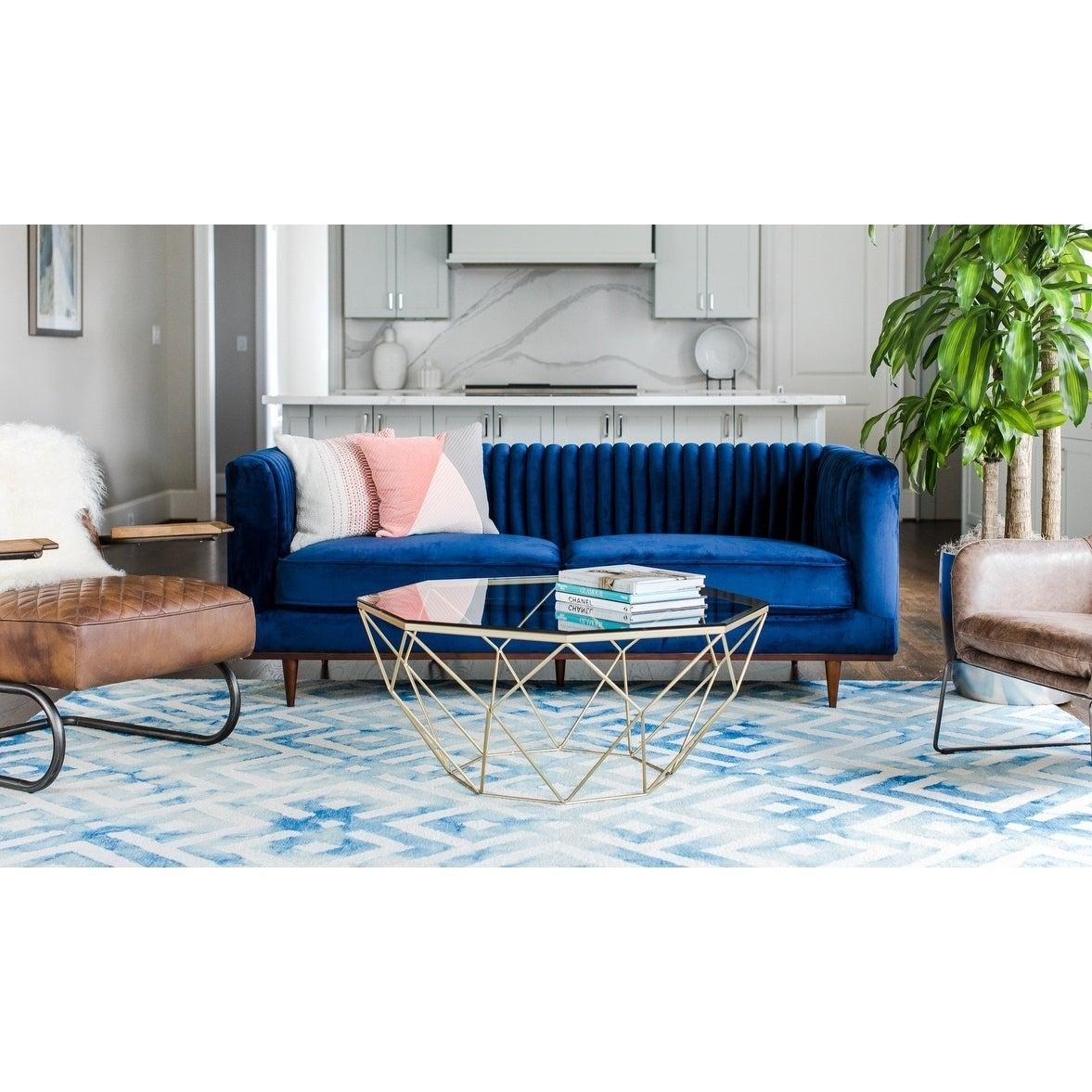 Shop jada blue velvet sofa midcentury modern sofa for living room channel tufted free shipping today overstock com 21485042