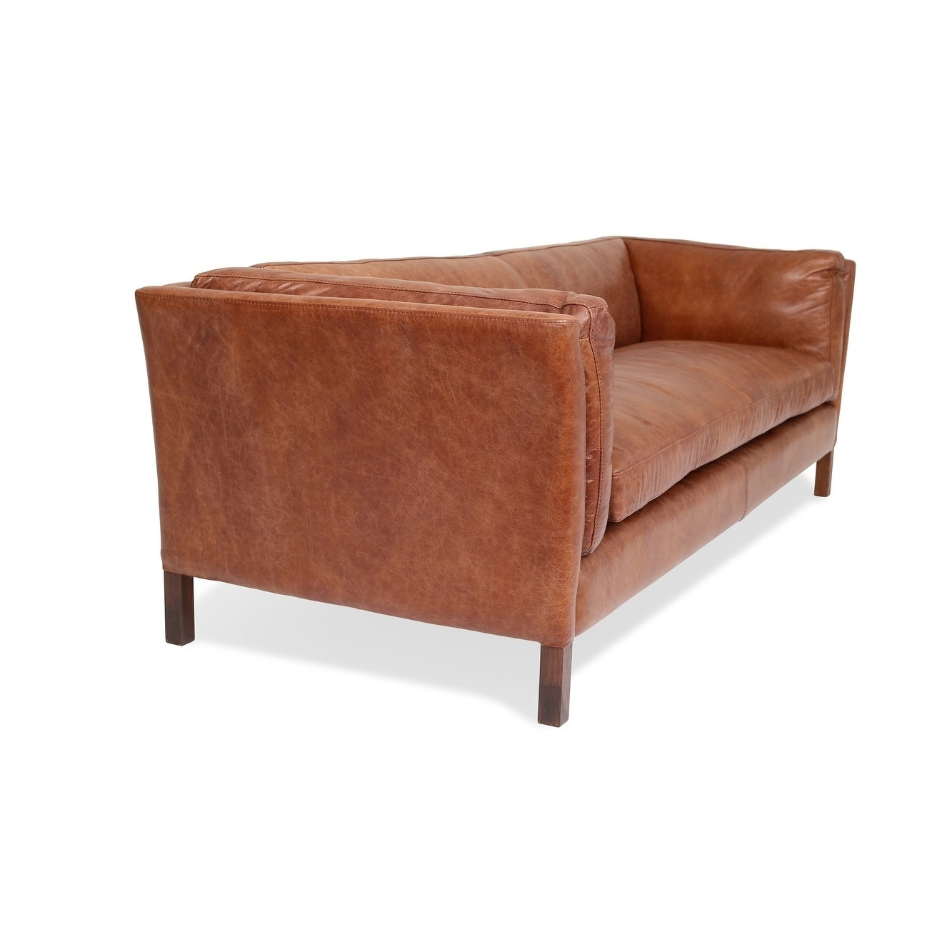 Shop modern leather sofa mid century modern couch top grain brazilian leather cognac brown free shipping today overstock com 21485045