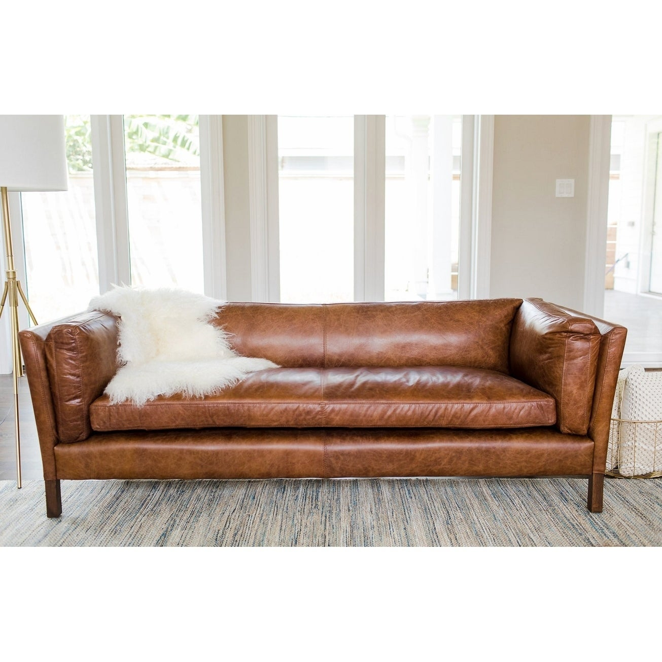 Shop Modern Leather Sofa Mid Century Modern Couch Top Grain