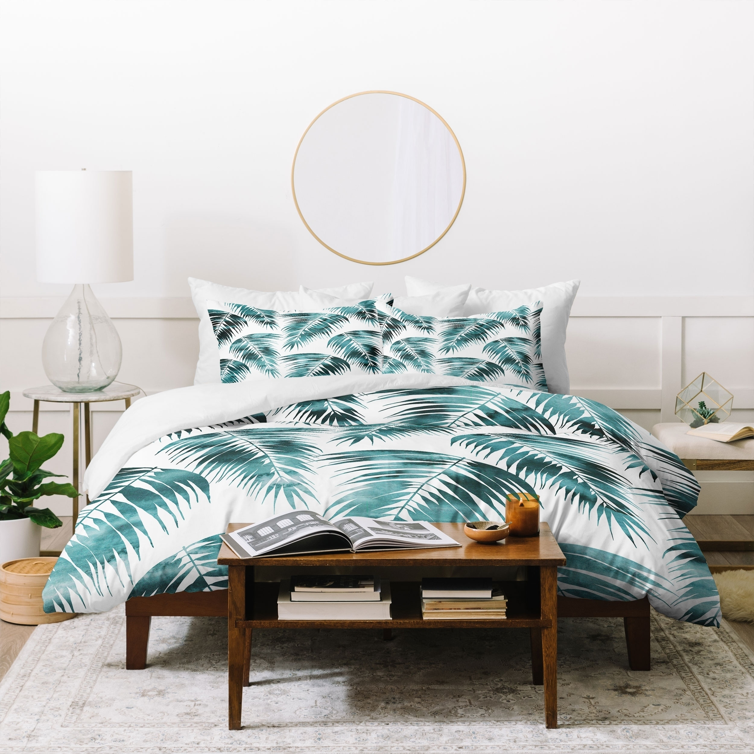 Shop Schatzi Brown Maui Palm Green And White Duvet Cover Set On