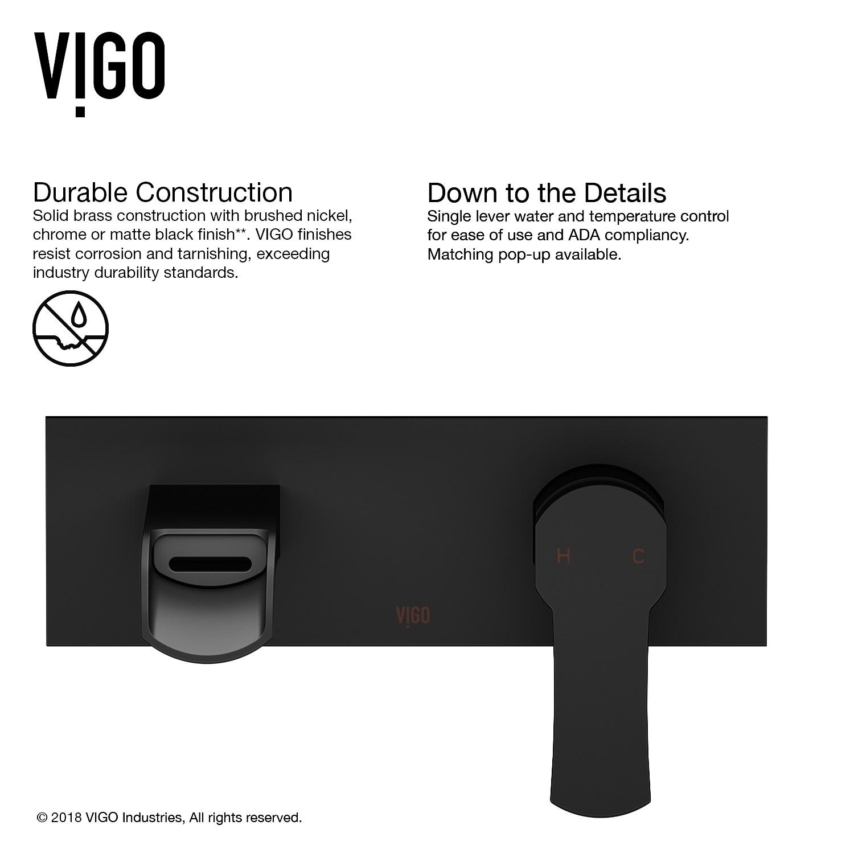 Shop VIGO Cornelius Matte Black Wall Mount Bathroom Faucet - On Sale ...
