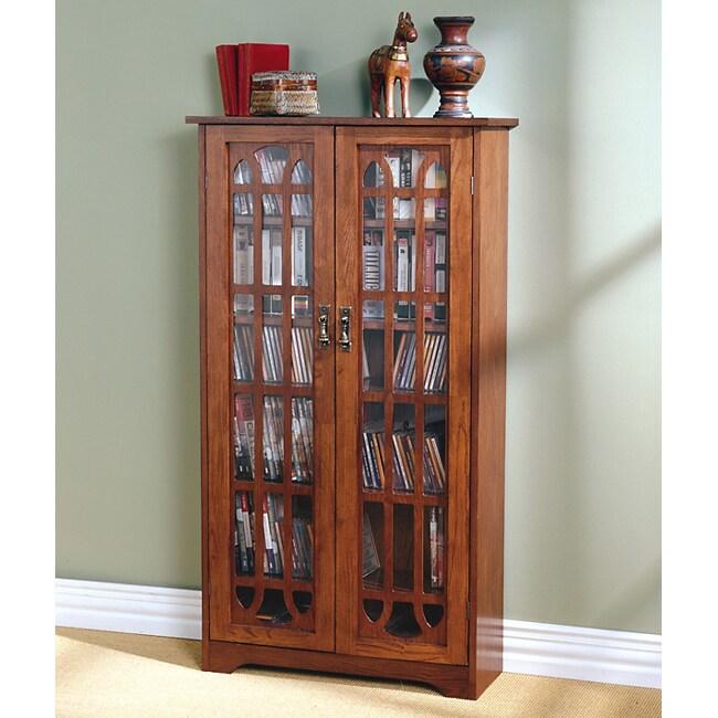 Copper Grove Cache 6 Shelf Oak Media Cabinet