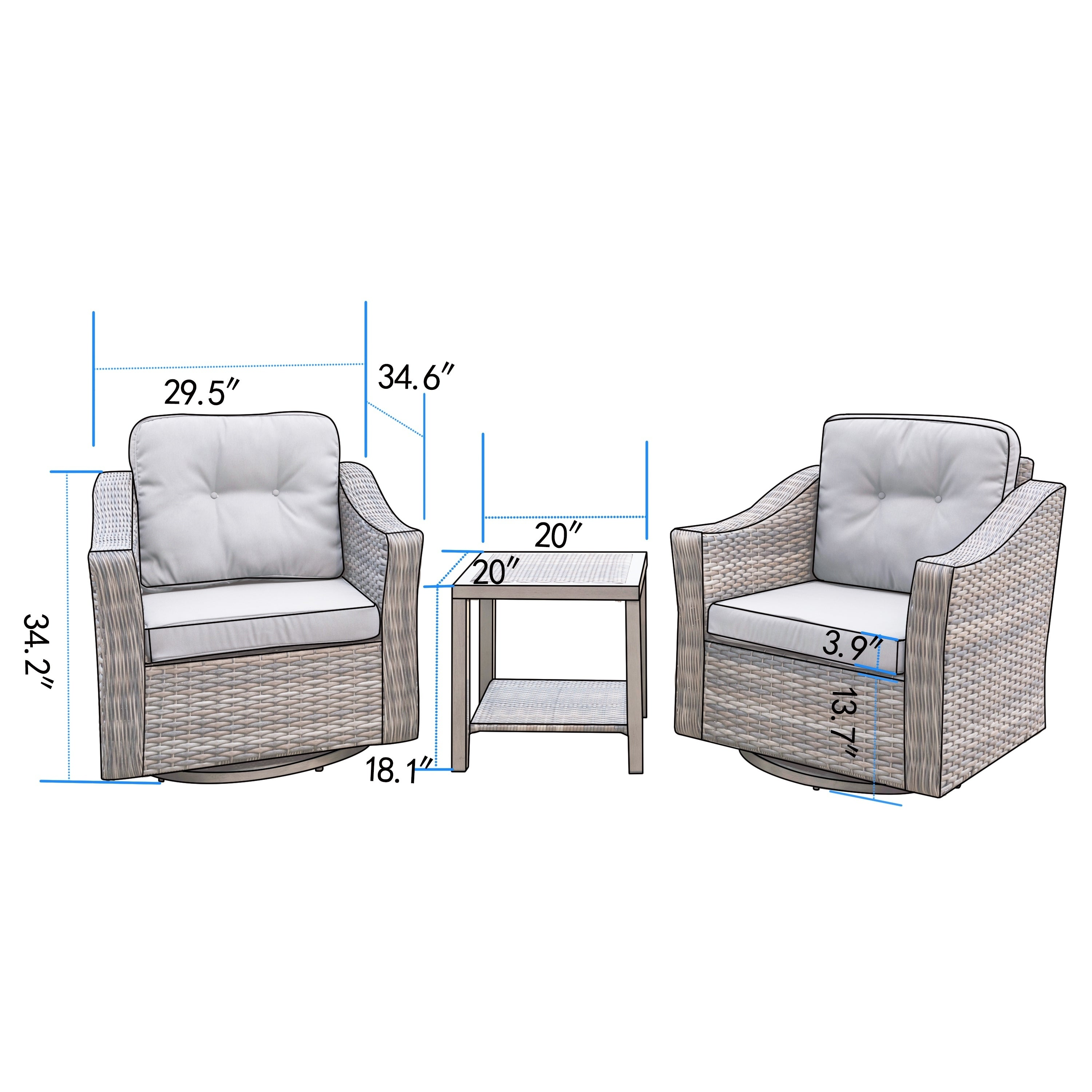Shop Corvus Eolie 3 Piece Outdoor Wicker Swivel Glider Chair Set With Side  Table   Free Shipping Today   Overstock.com   21491886