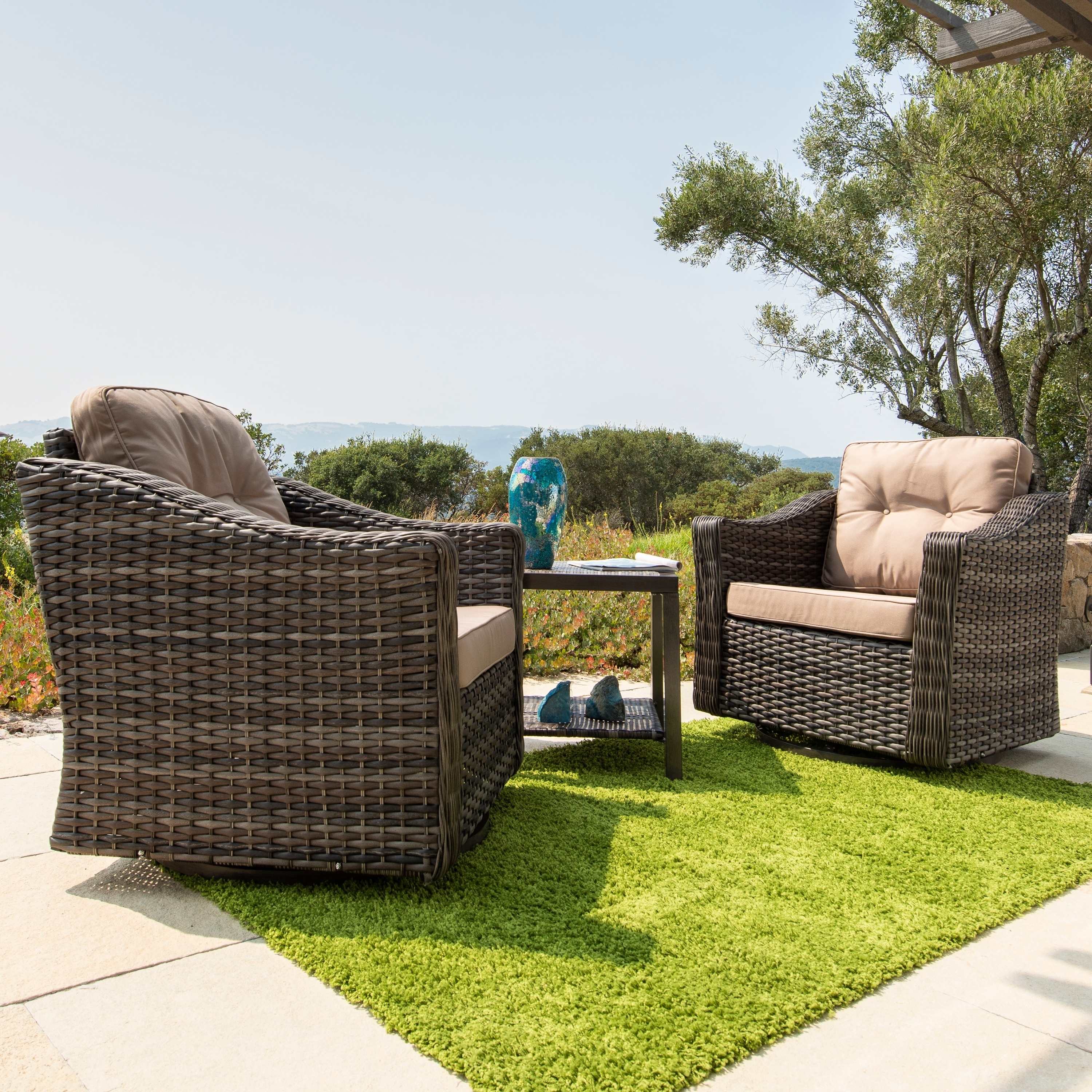 Corvus Eolie 3 Piece Outdoor Wicker Swivel Glider Chair Set With Side Table