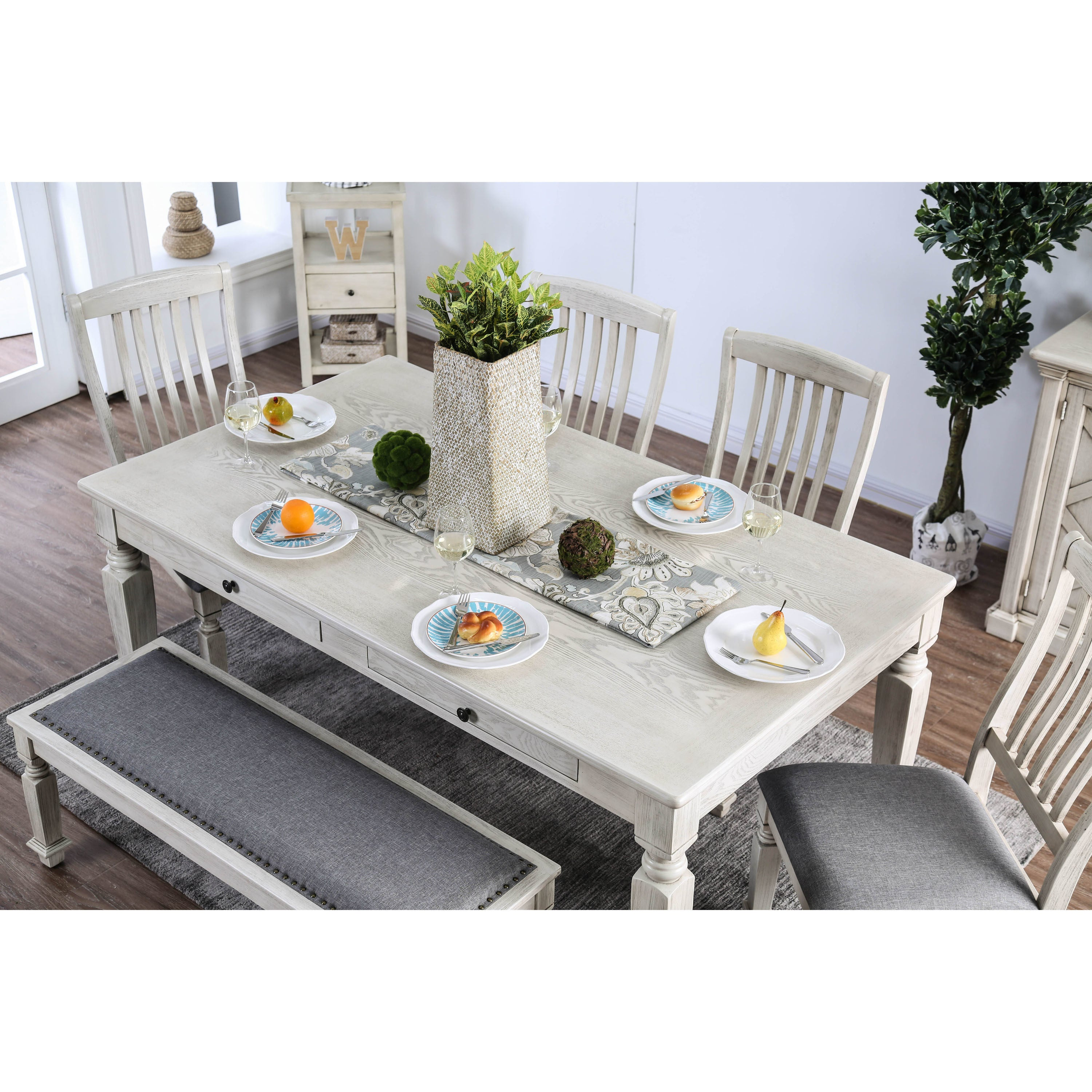 Shop Furniture Of America Tyler Rustic Farmhouse Dining Table   Antique  White   N/A   Free Shipping Today   Overstock.com   21500973