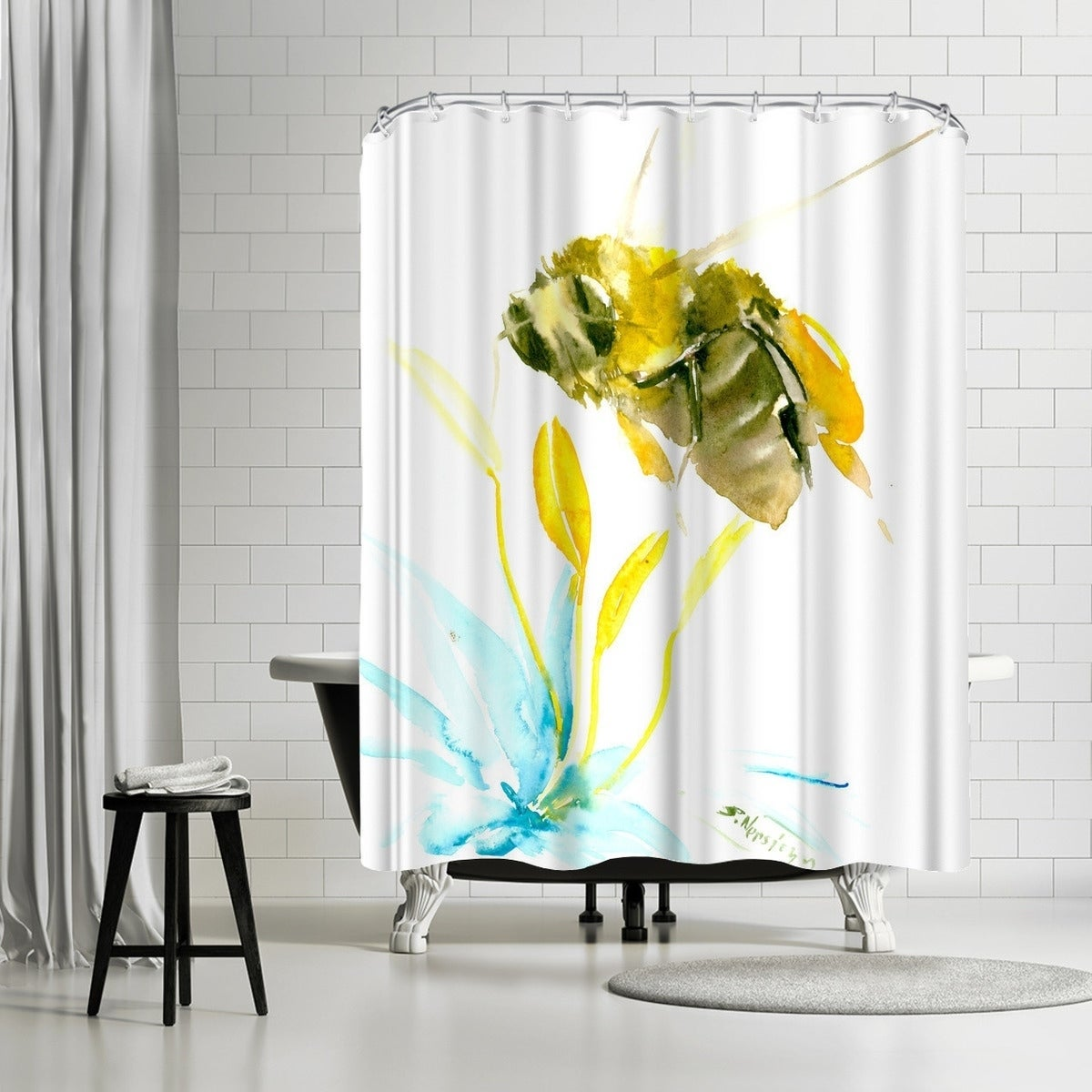 Shop Americanflat Flying Bee Shower Curtain