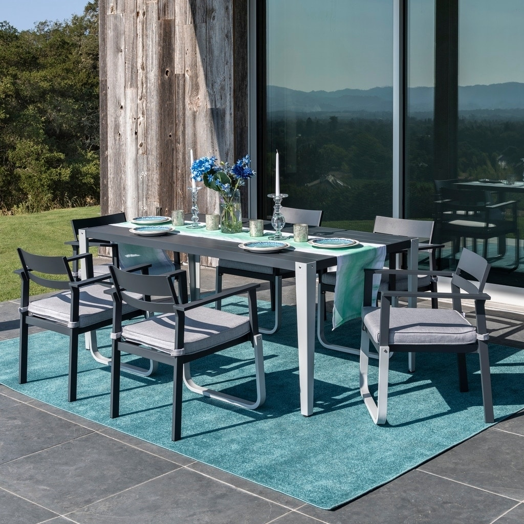 Corvus Adeline 7 Piece Grey And White Patio Dining Set With Cushions