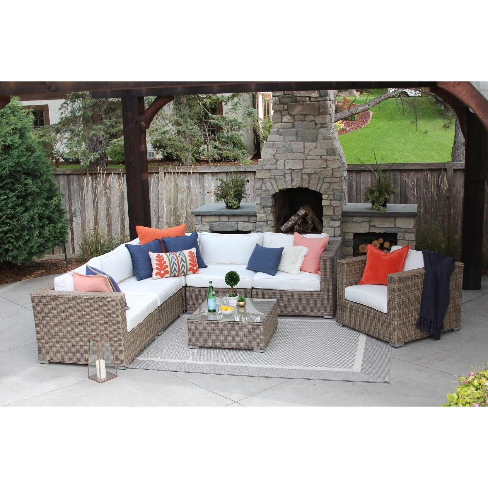 Shop Sunbrella Loring 7pc Patio Sectional Set   Free Shipping Today    Overstock.com   21520379