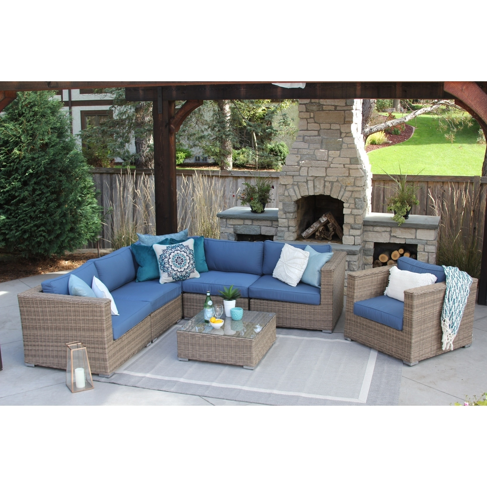 Shop Sunbrella Loring 7pc Patio Sectional Set - Free Shipping Today - Overstock - 21520379  sc 1 st  Overstock & Shop Sunbrella Loring 7pc Patio Sectional Set - Free Shipping Today ...