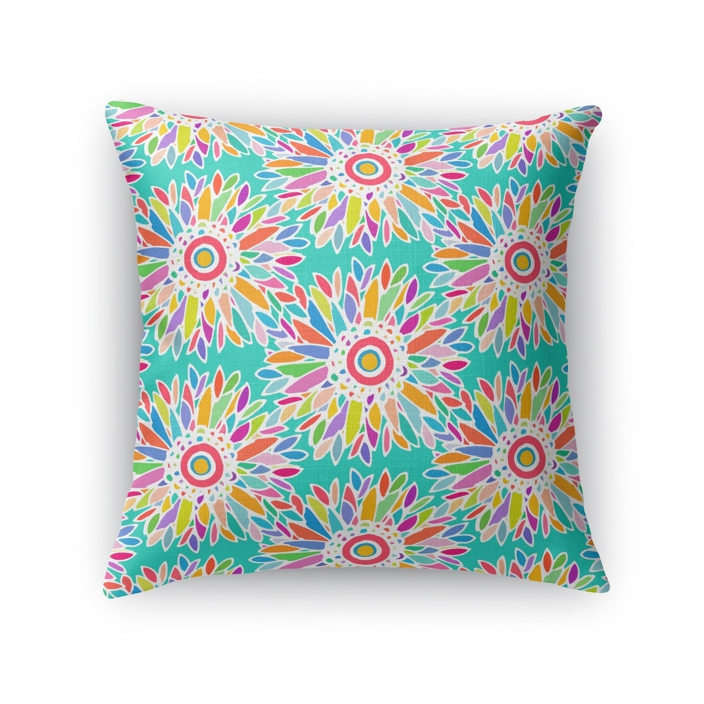 FUN FLORAL TEAL Accent Pillow By Becca Garrison - Free Shipping ...
