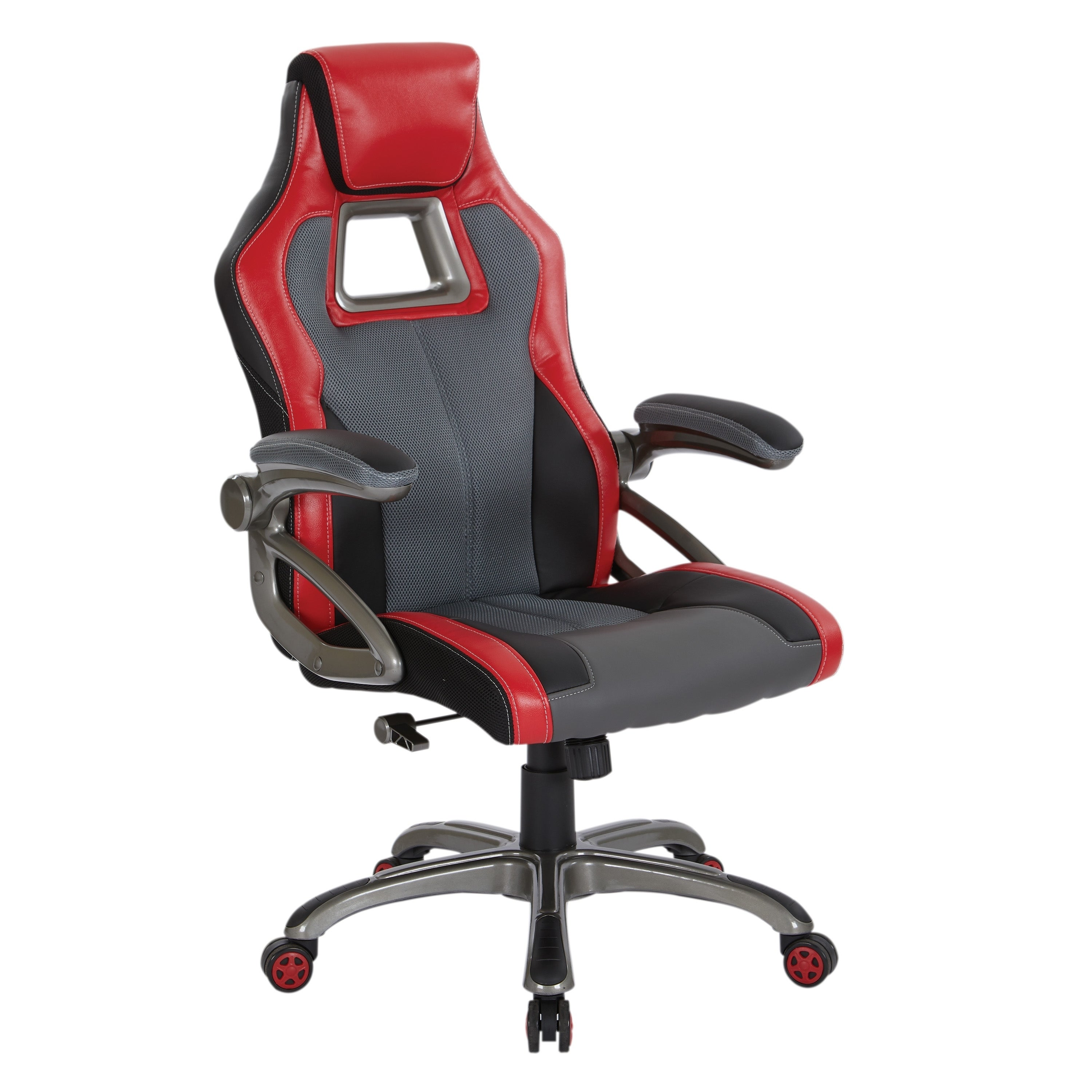 Shop Race Car Chair in Charcoal Grey with Red Trim and White Stitching - On Sale - Free Shipping Today - Overstock.com - 21527002  sc 1 st  Overstock.com & Shop Race Car Chair in Charcoal Grey with Red Trim and White ...