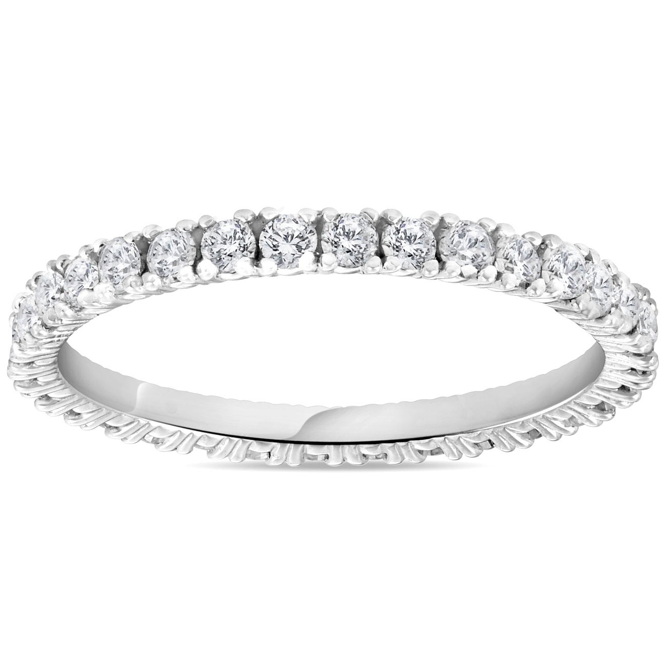 0a174df6a637 Shop Bliss 14k White Gold 5 8 ct TDW Diamond Stackable Wedding Ring Womens  Anniversary Band - On Sale - Free Shipping Today - Overstock - 21530067