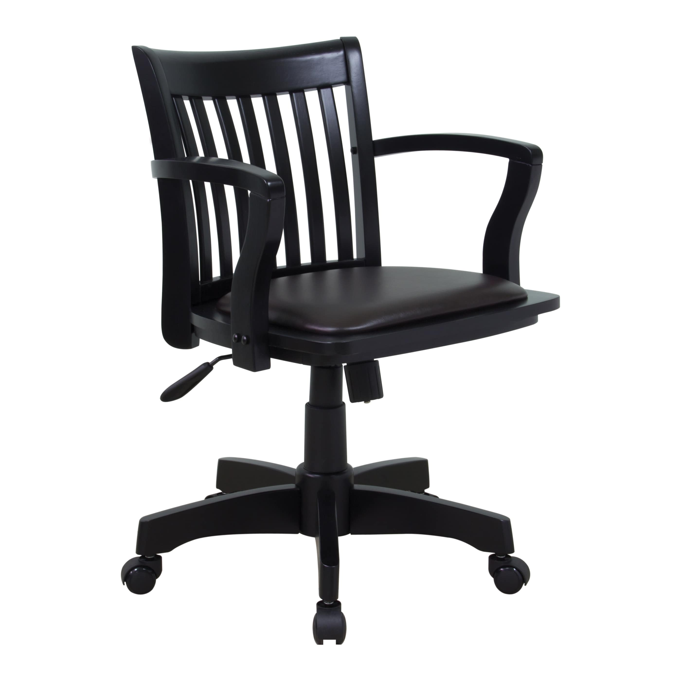 Osp home furnishings deluxe wood bankers chair with vinyl padded espresso seat and black frame