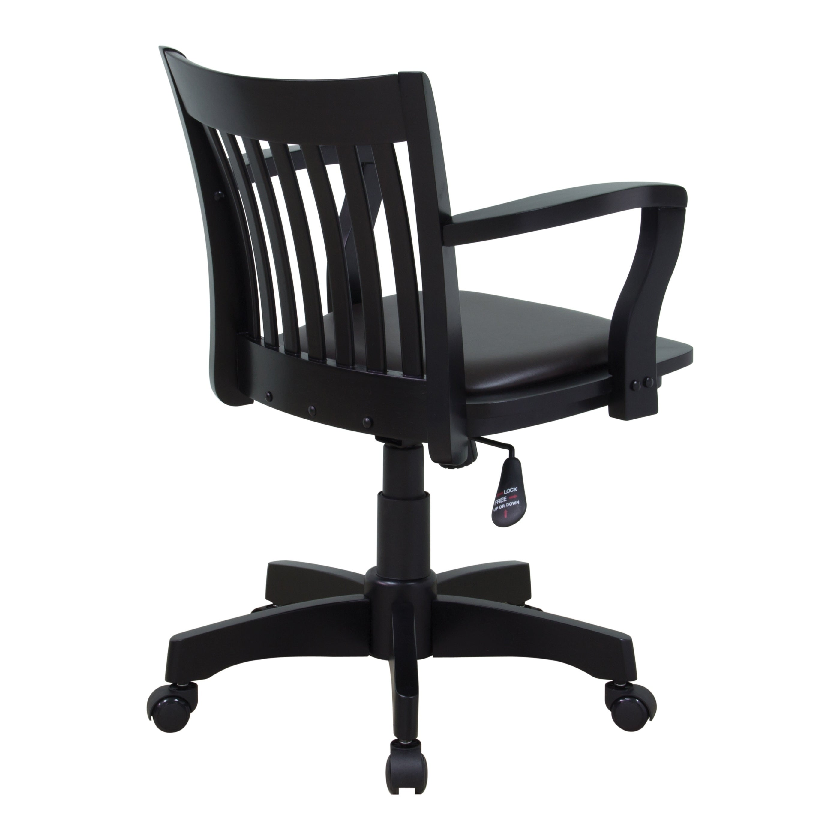 Shop Deluxe Wood Bankers Chair With Vinyl Padded Espresso Seat And Black  Frame   Free Shipping Today   Overstock.com   21540682