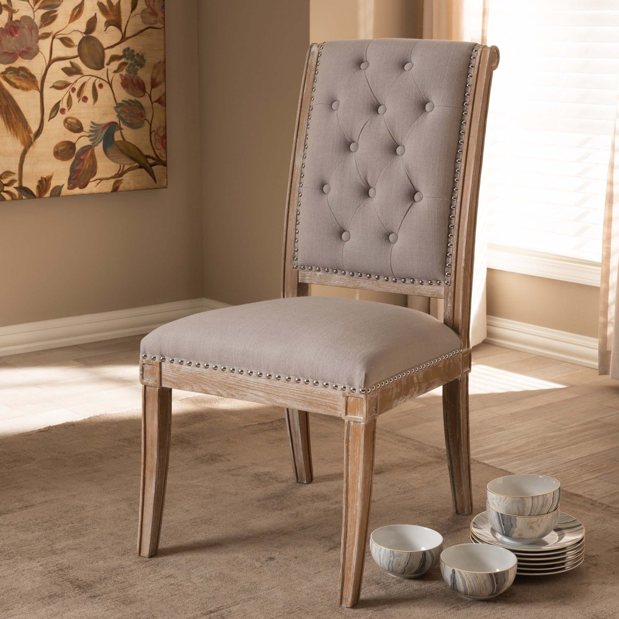 French Provincial Chair >> Shop French Provincial Beige Fabric Dining Chair By Baxton Studio