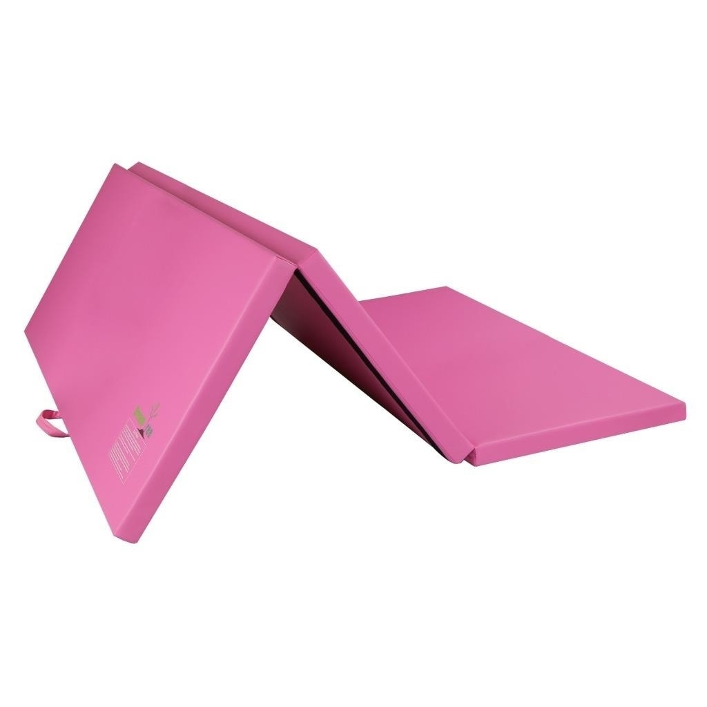 folding wedge aerobics mat pink tumbling slope athletic equipment cheese sporting gymnastics gym goods incline athletics purpose mats exercise s general