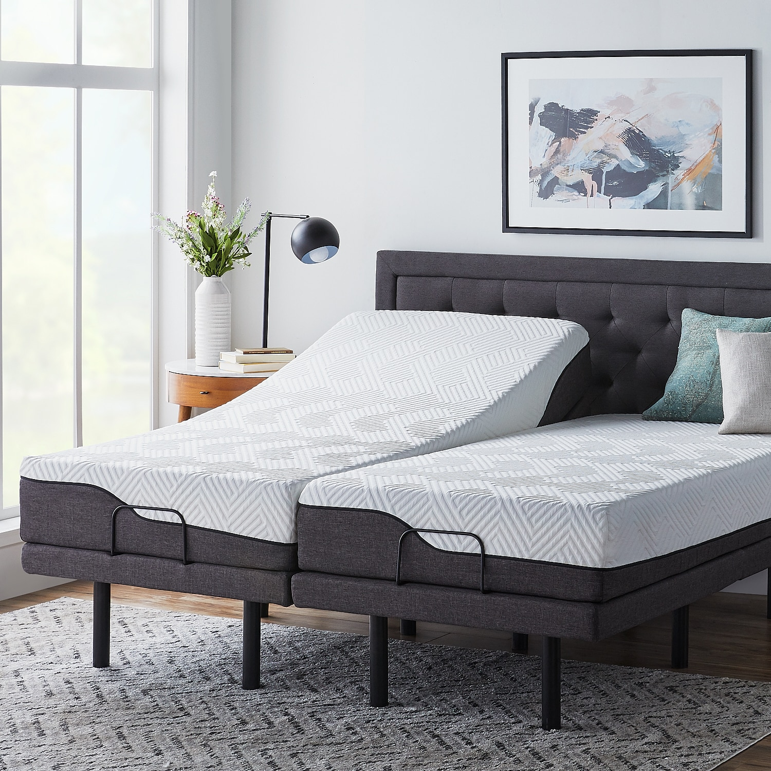 Shop lucid comfort collection 12 inch split king size memory foam hybrid mattress with l300 adjustable base free shipping today overstock com 21585549