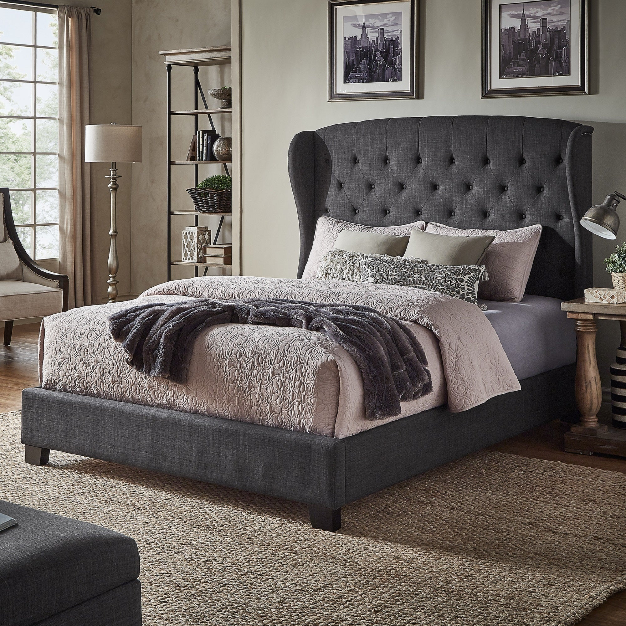 Shop Vivianne Tufted Linen Wingback Bed With Nailhead Trim By