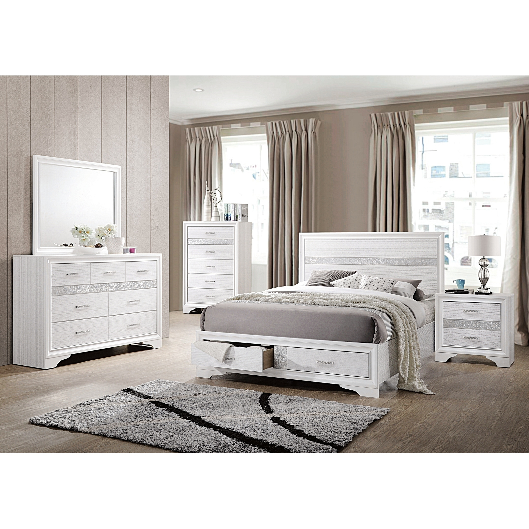 Shop Miranda Contemporary White 4-piece Bedroom Set - On Sale - Free ...