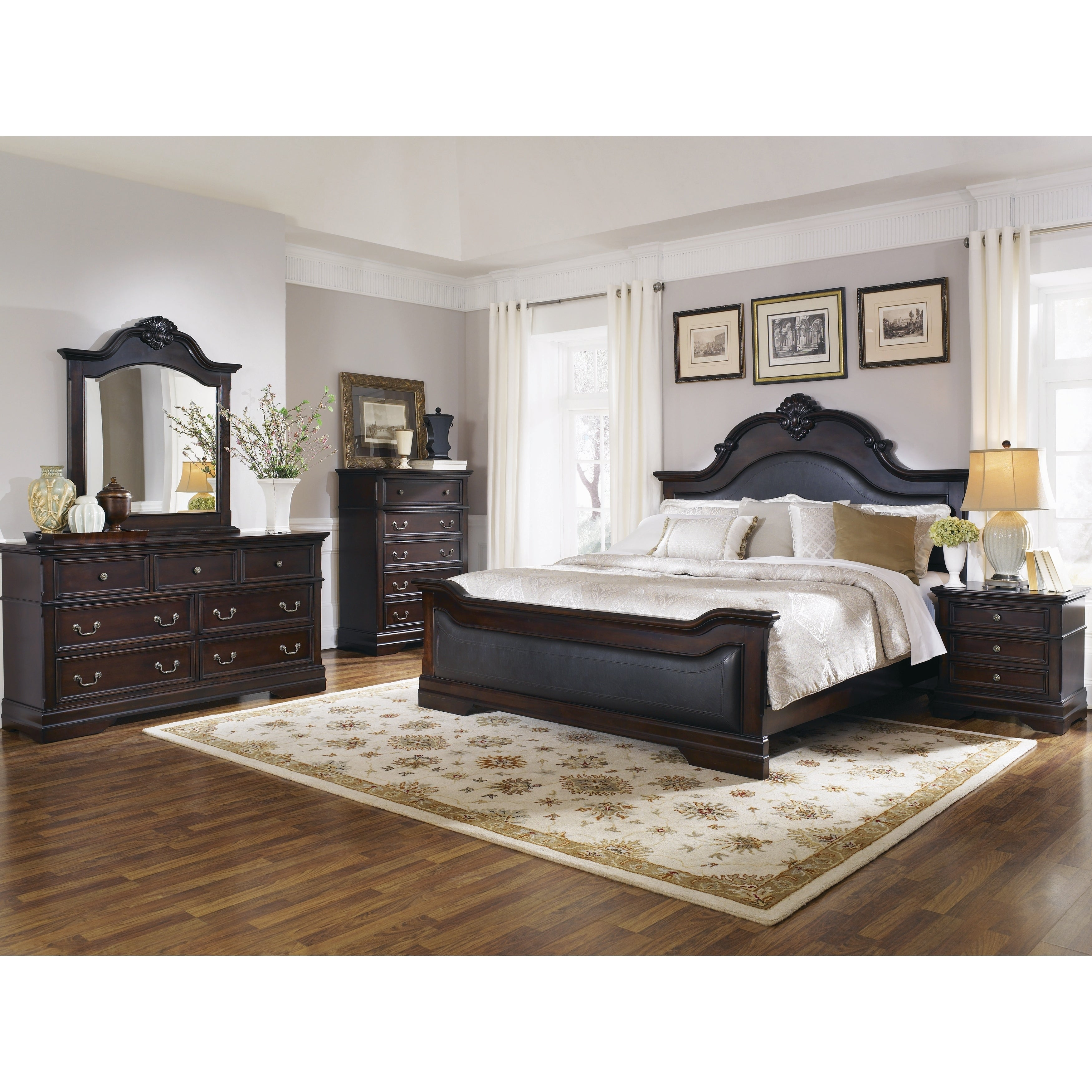 Shop Cambridge Traditional Dark Brown 4-piece Bedroom Set - On Sale ...