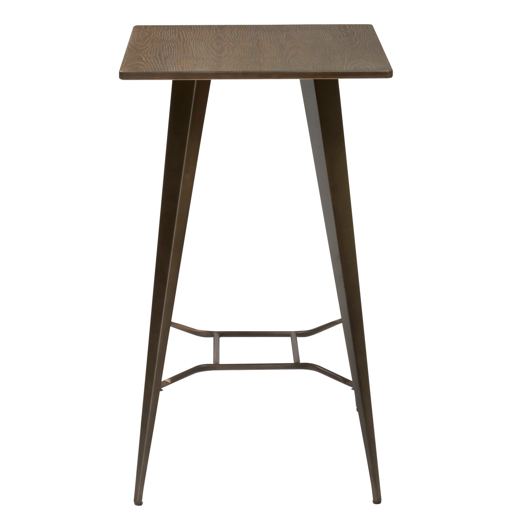 Antique Distressed Rustic Metal Dining Pub Bar Table With Wood Top