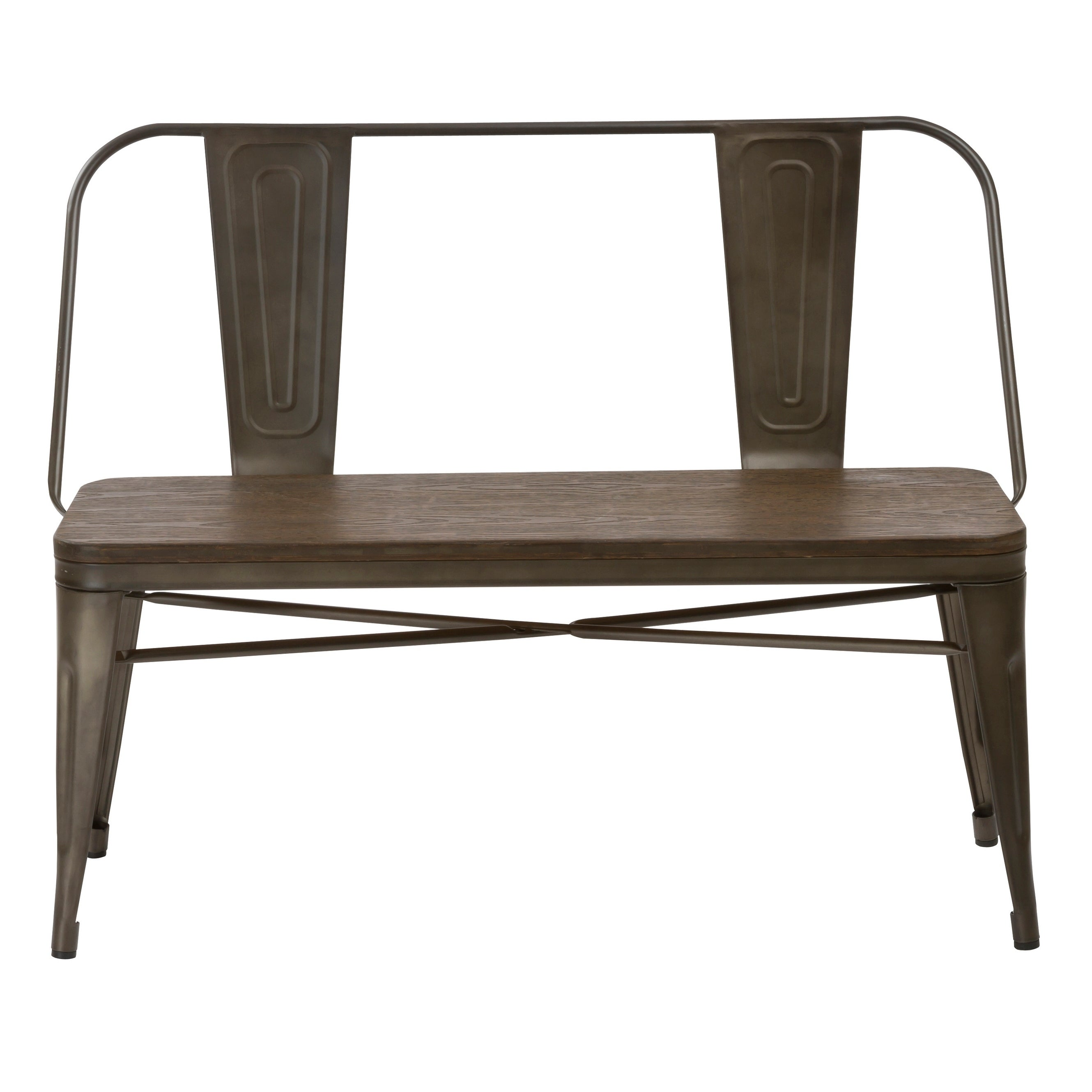 Shop industrial antique rustic wood metal dining bench full back free shipping today overstock com 21587206