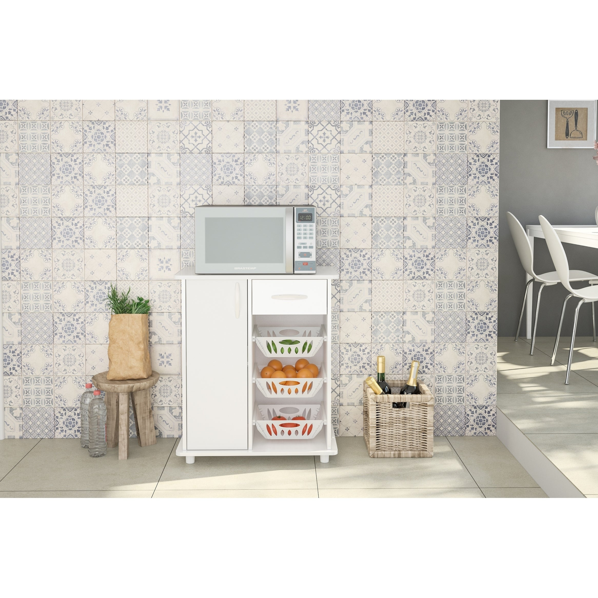 Polifurniture Compact Kitchen Cabinet With 3 Baskets White