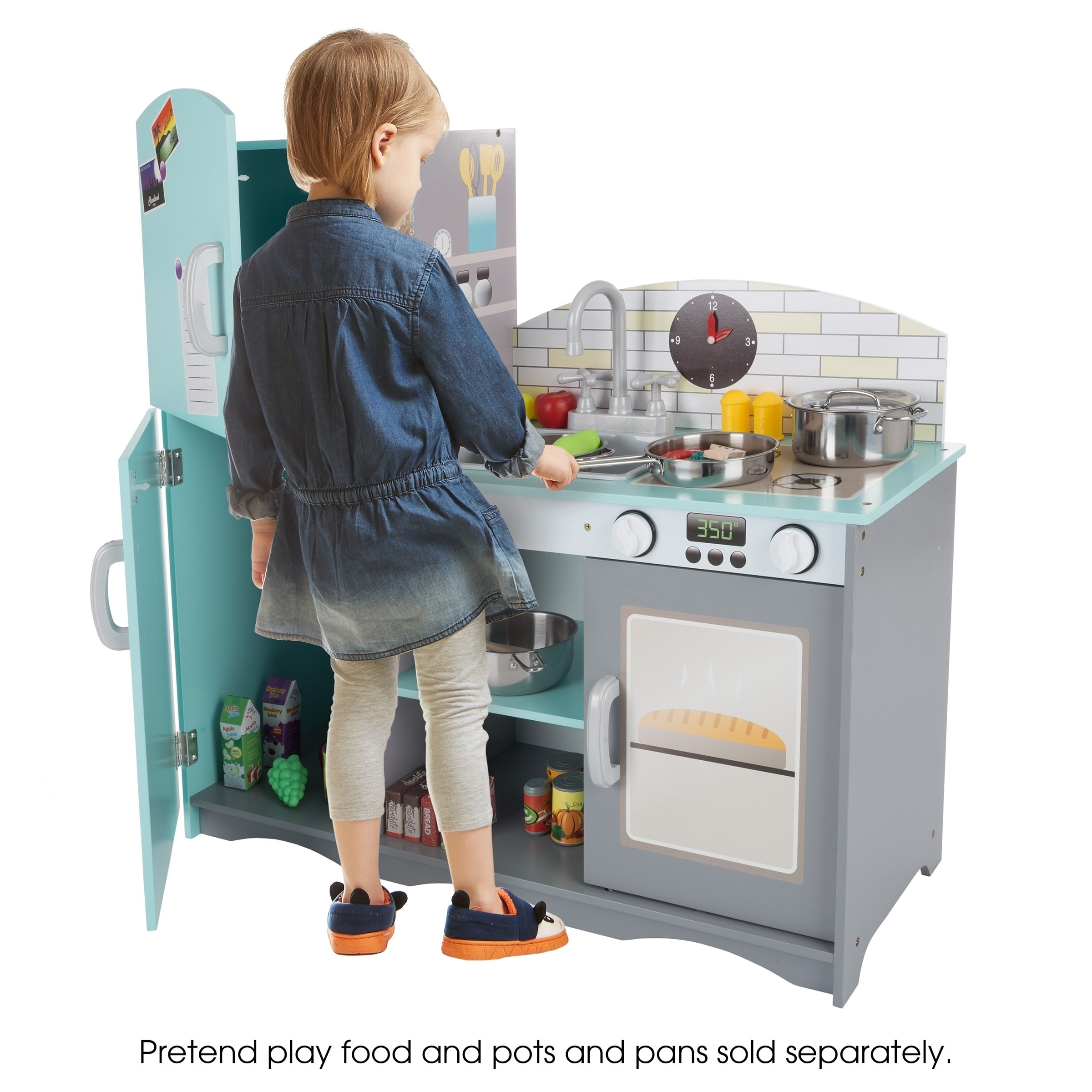 Shop kids toy kitchen set fun pretend play home kitchen playset with oven sink stove refrigerator freezer by hey play on sale free shipping today