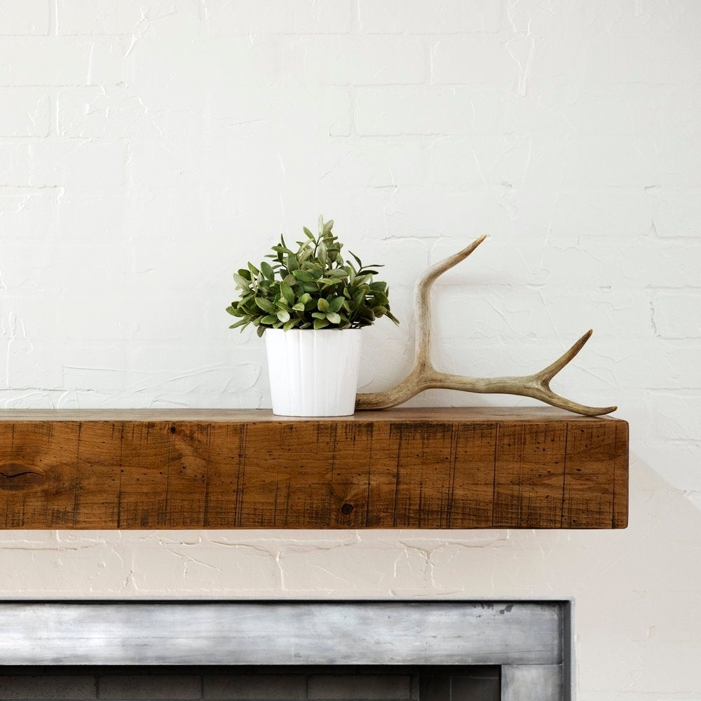 Shop Rustic Fireplace Mantel Shelf Free Shipping Today Overstock