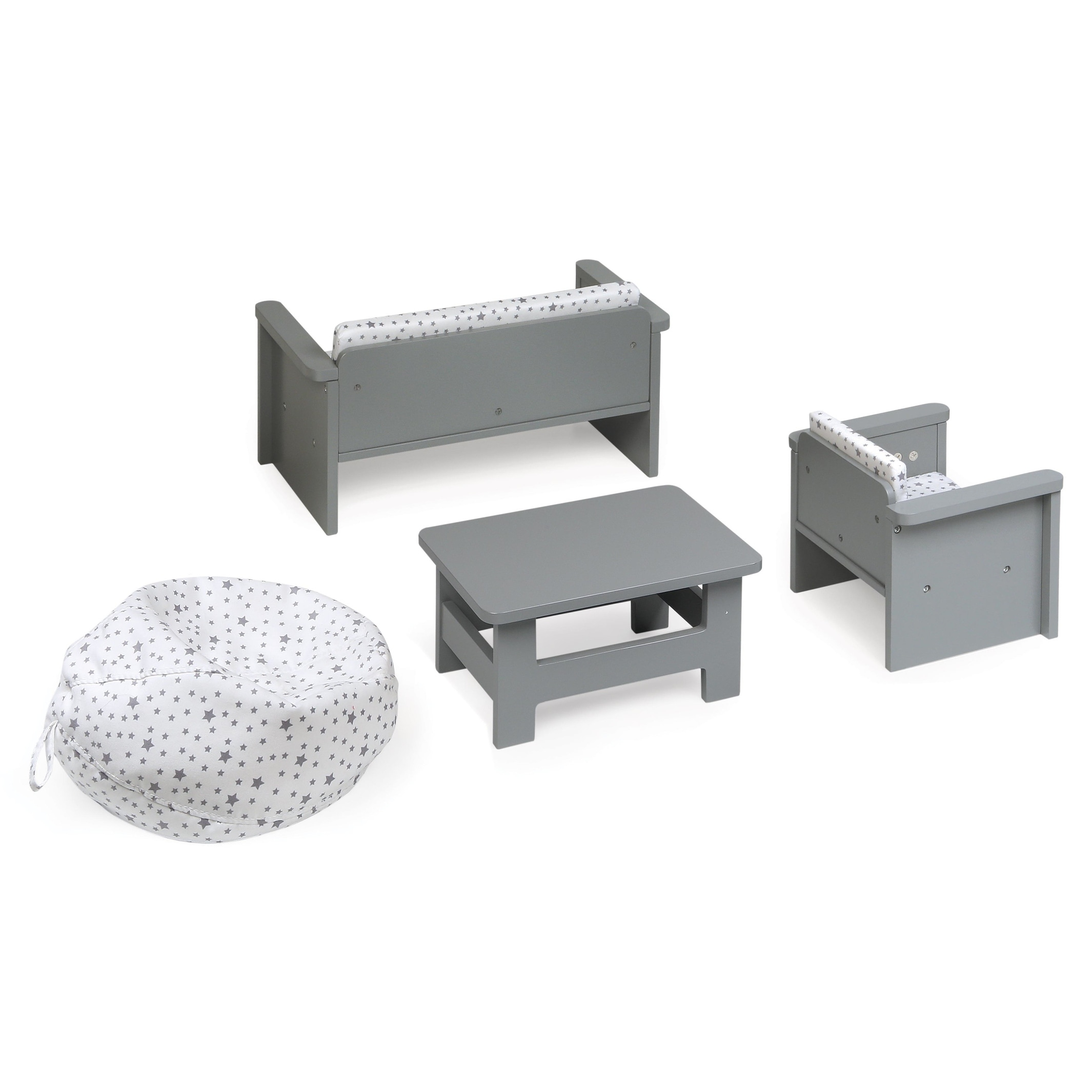 Living Room Furniture Set for 18 inch Dolls - Gray/White - Free ...
