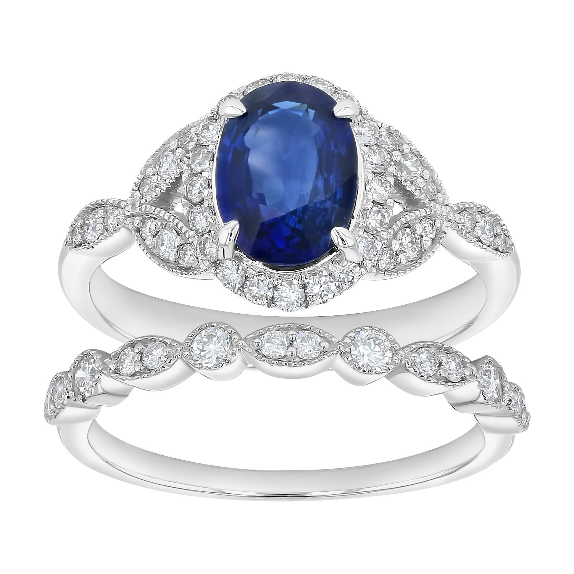 Shop 14k White Gold 1 3/4ct Diamonds and Oval Blue Sapphire Vintage ...