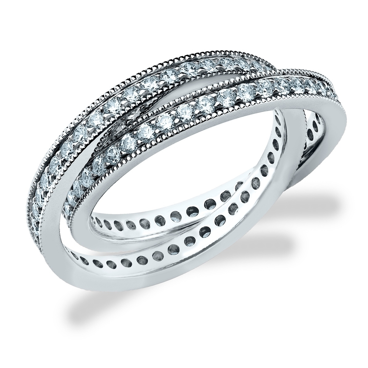 Shop Amore Platinum 1 0 Cttw Two Eternity Bands Rolling Diamond Ring