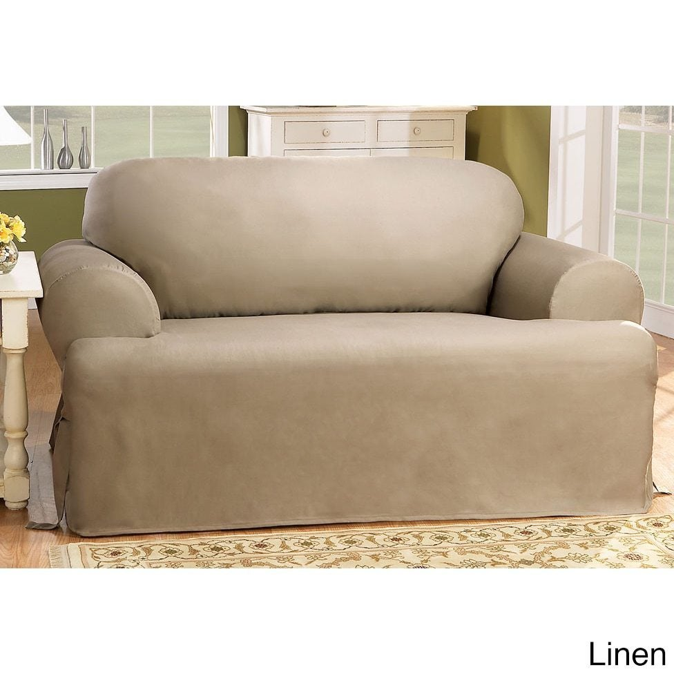 Shop Sure Fit Cotton Classic T Cushion Sofa Slipcover   Free Shipping Today    Overstock.com   2162358