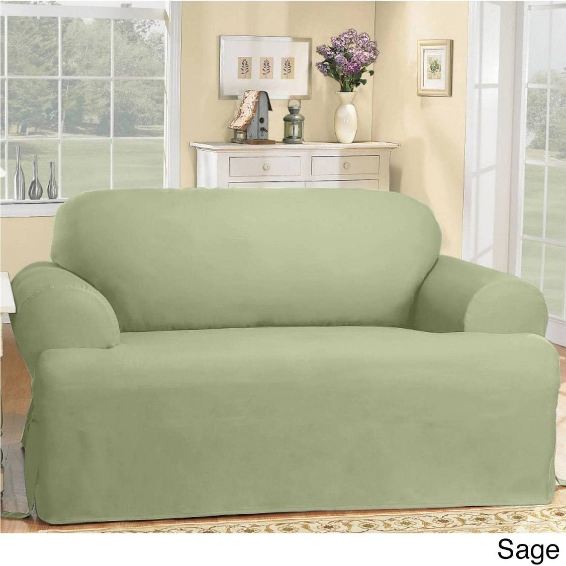 Shop Sure Fit Cotton Classic T Cushion Sofa Slipcover On Sale